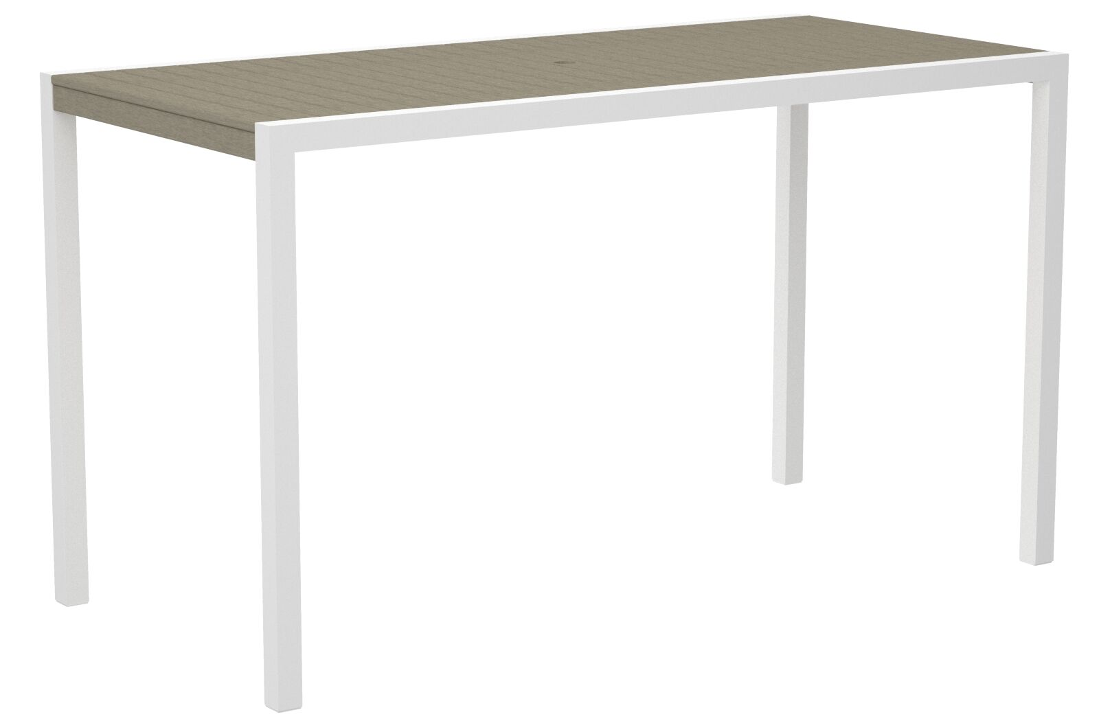 Mod Bar Table Base Finish: Textured White, Top Finish: Sand