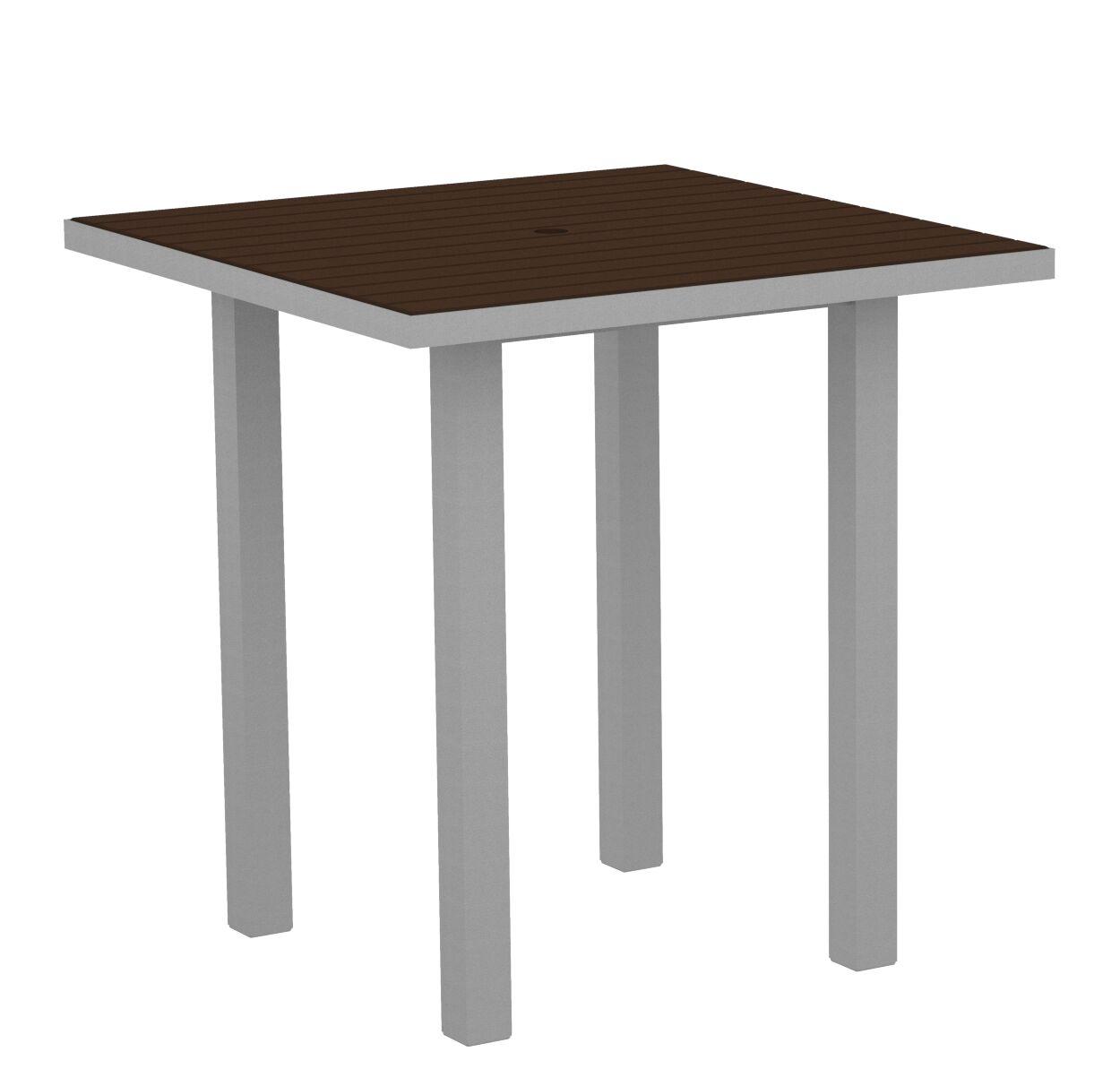 Euro Side Table Base Finish: Textured Silver, Top Finish: Mahogany