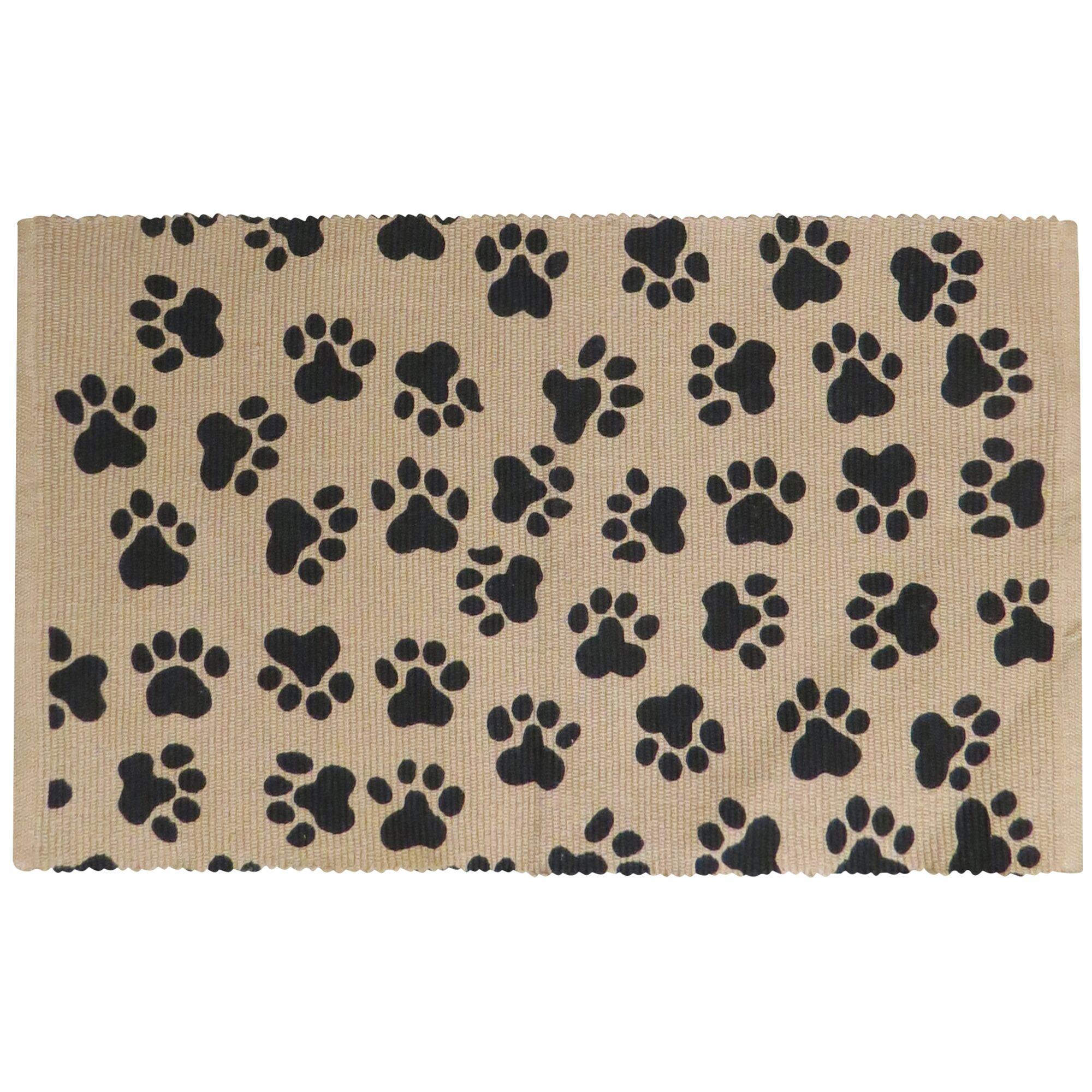 Isabella World Paws Cotton Pet Mat Color: Linen/Black, Size: 24