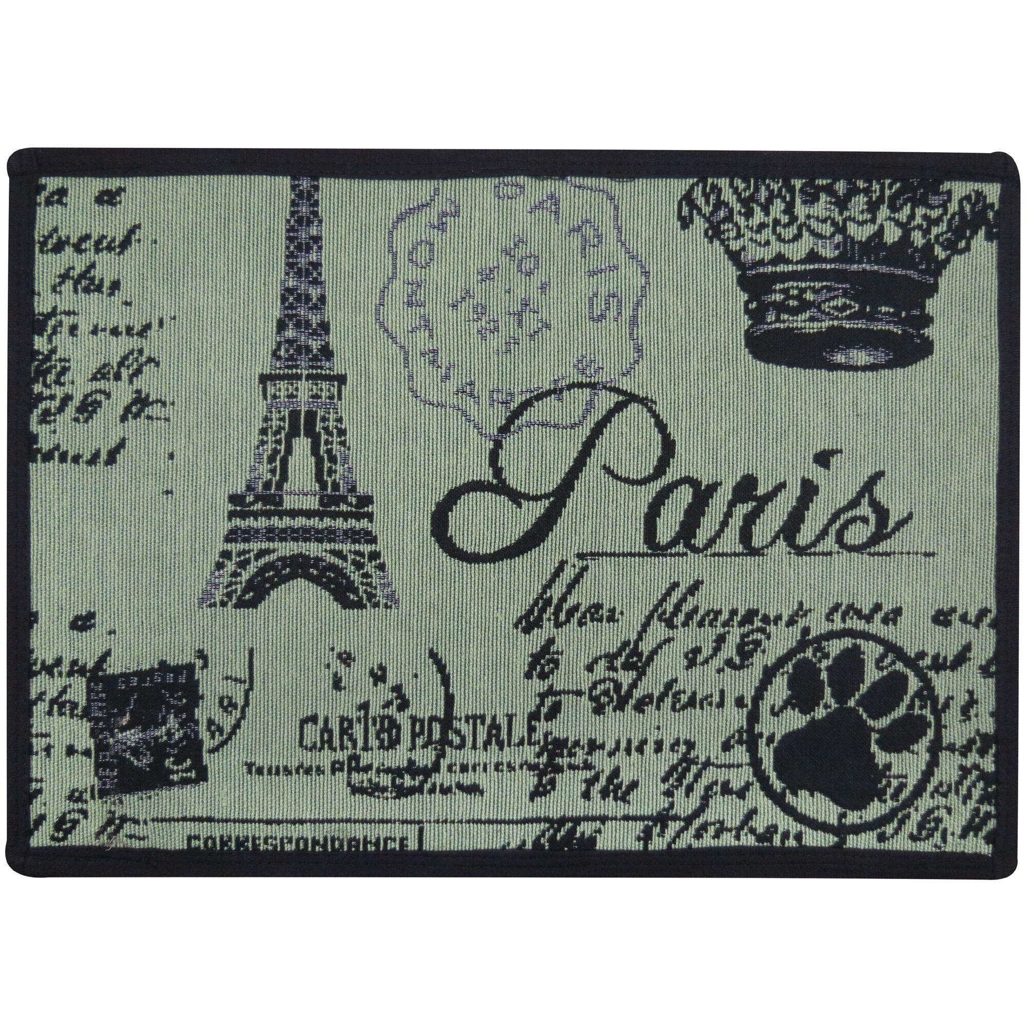 Morey Paris Collage Tapestry Pet Mat Color: Smoke Green