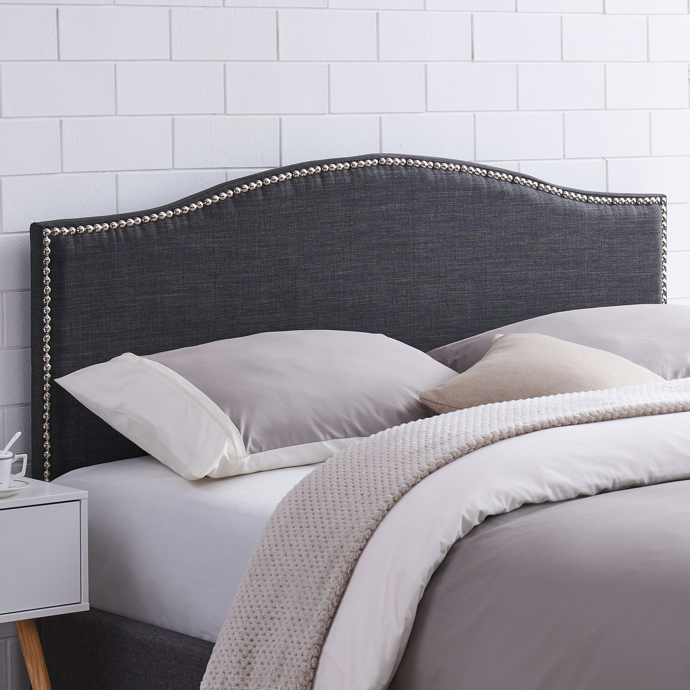 Unger Upholstered Panel Headboard Upholstery: Charcoal, Size: King/California King
