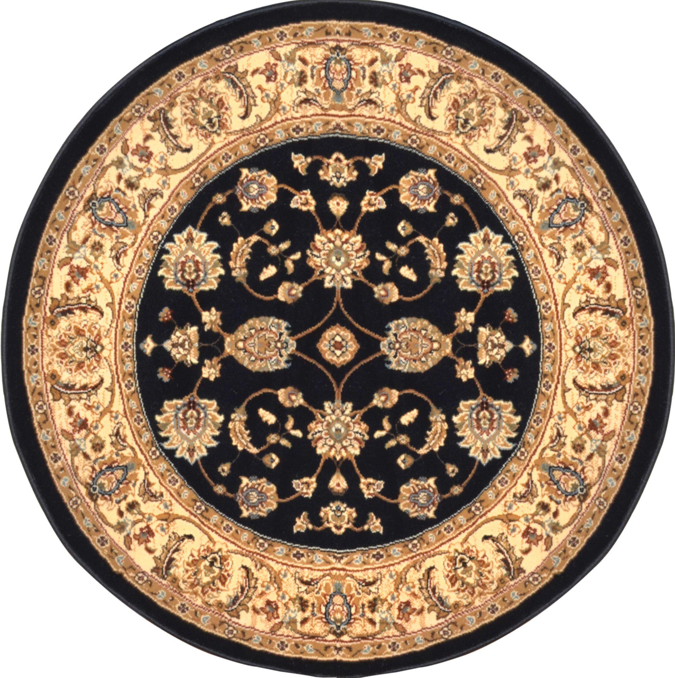 Triumph Woven Black Oriental Rug Rug Size: Round 7'8