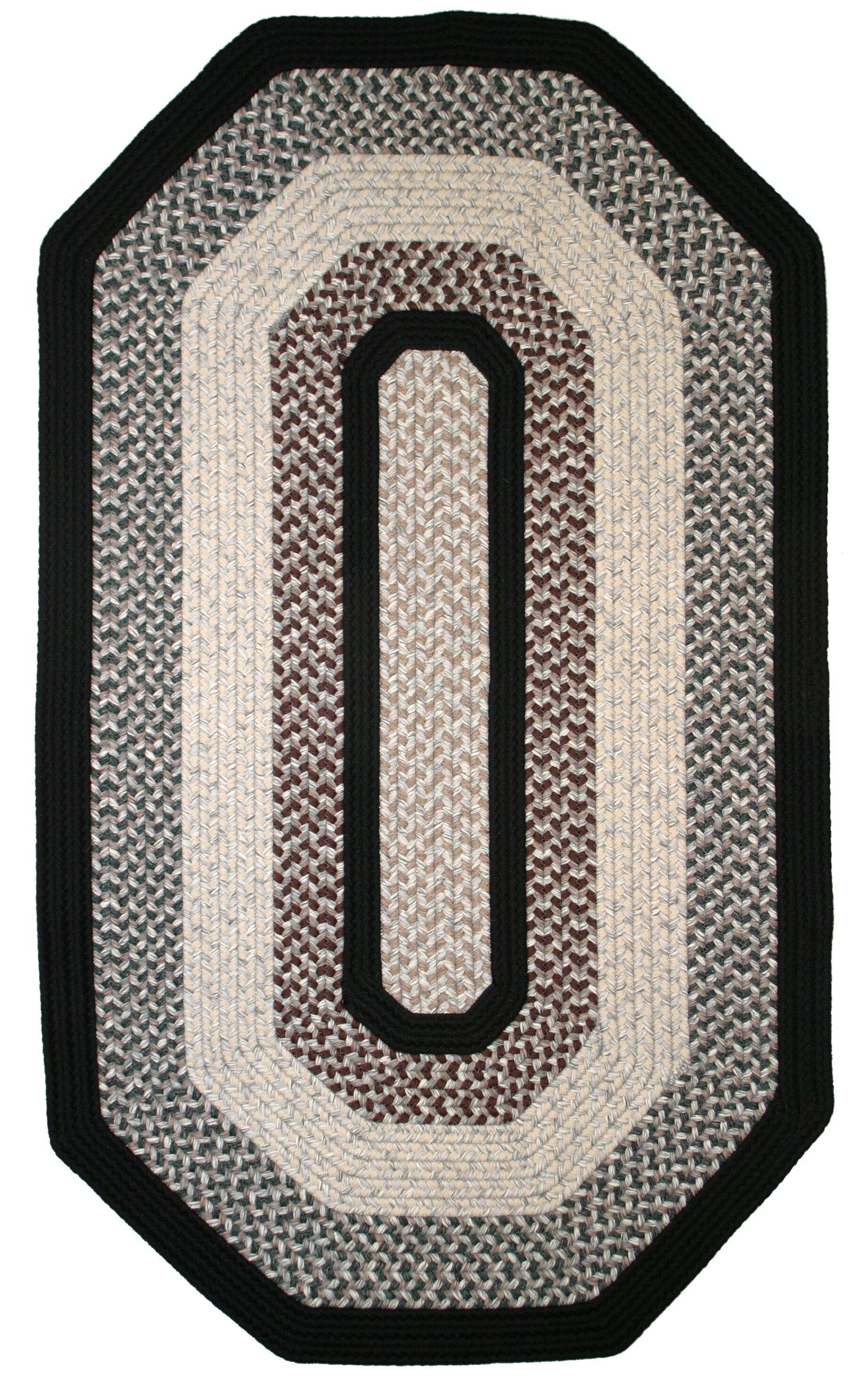 Green Mountain Onyx Granite Black Area Rug Rug Size: Elongated Octagon 6' x 9'