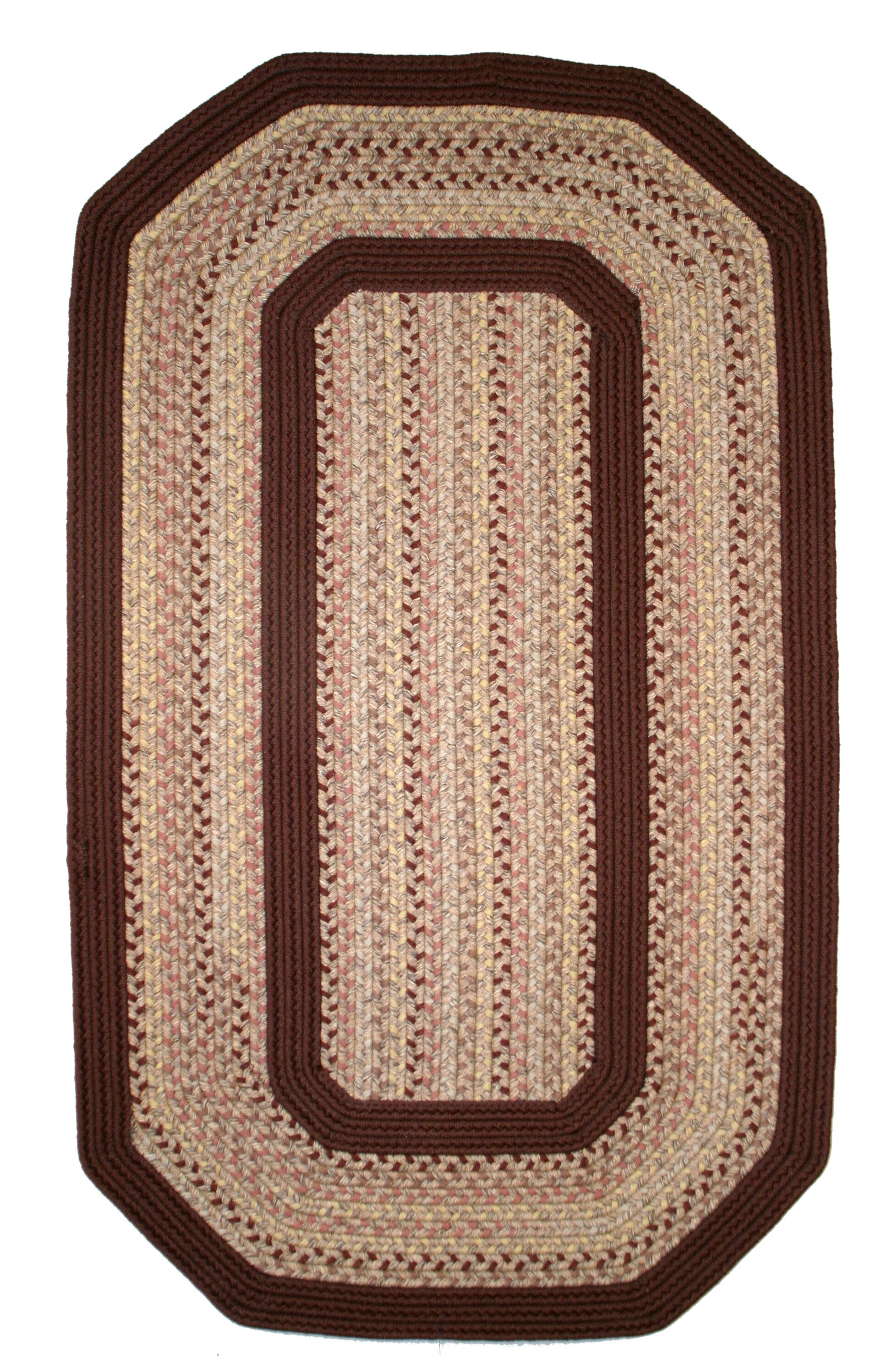 Pioneer Valley II Buckskin with Burgundy Solids Elongated Octagon Rug Rug Size: Elongated Octagon 8' x 10'