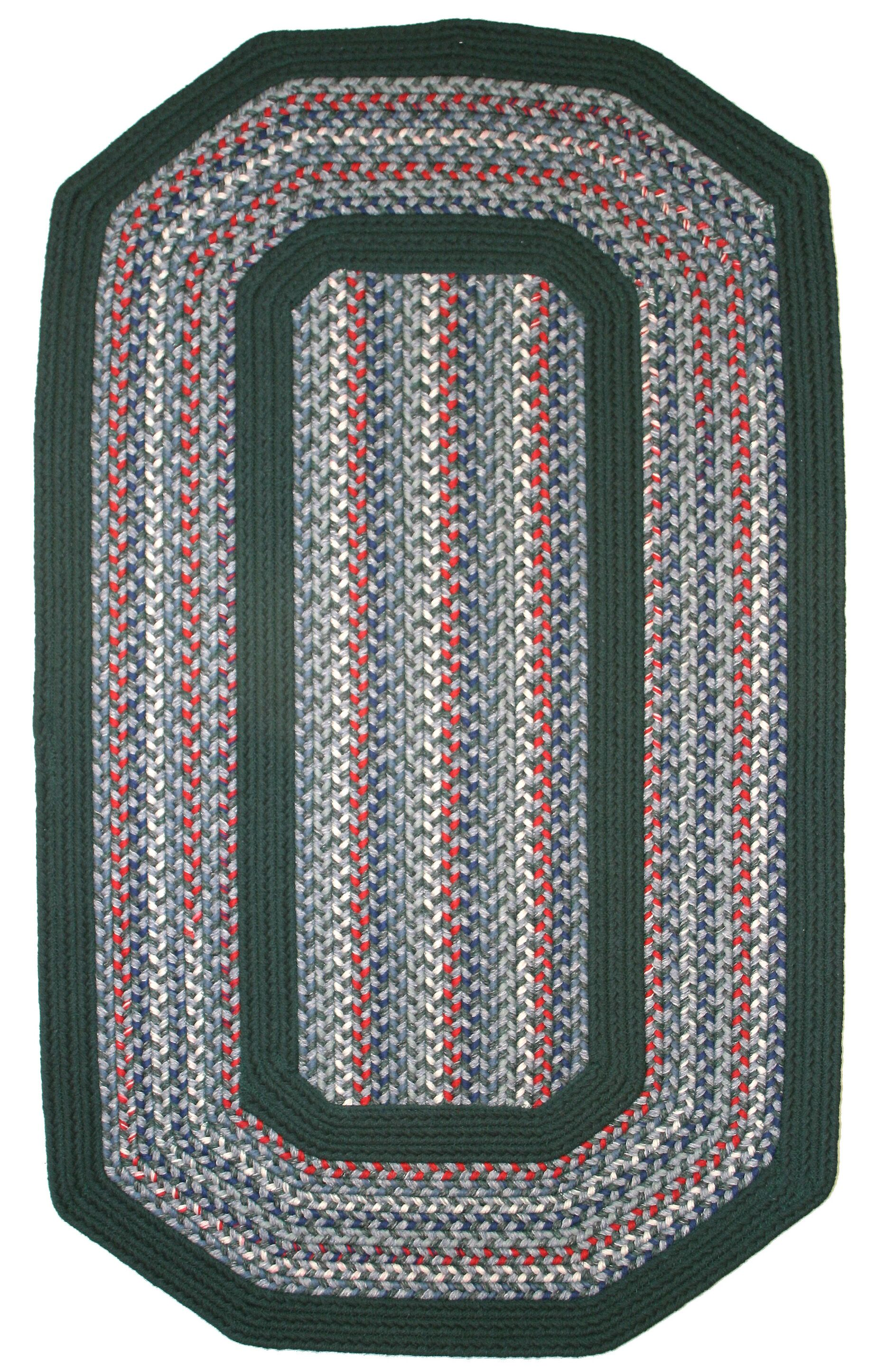Pioneer Valley II Carribean Blue with Dark Green Solids Multi Elongated Octagon Rug Rug Size: Elongated Octagon 8' x 10'