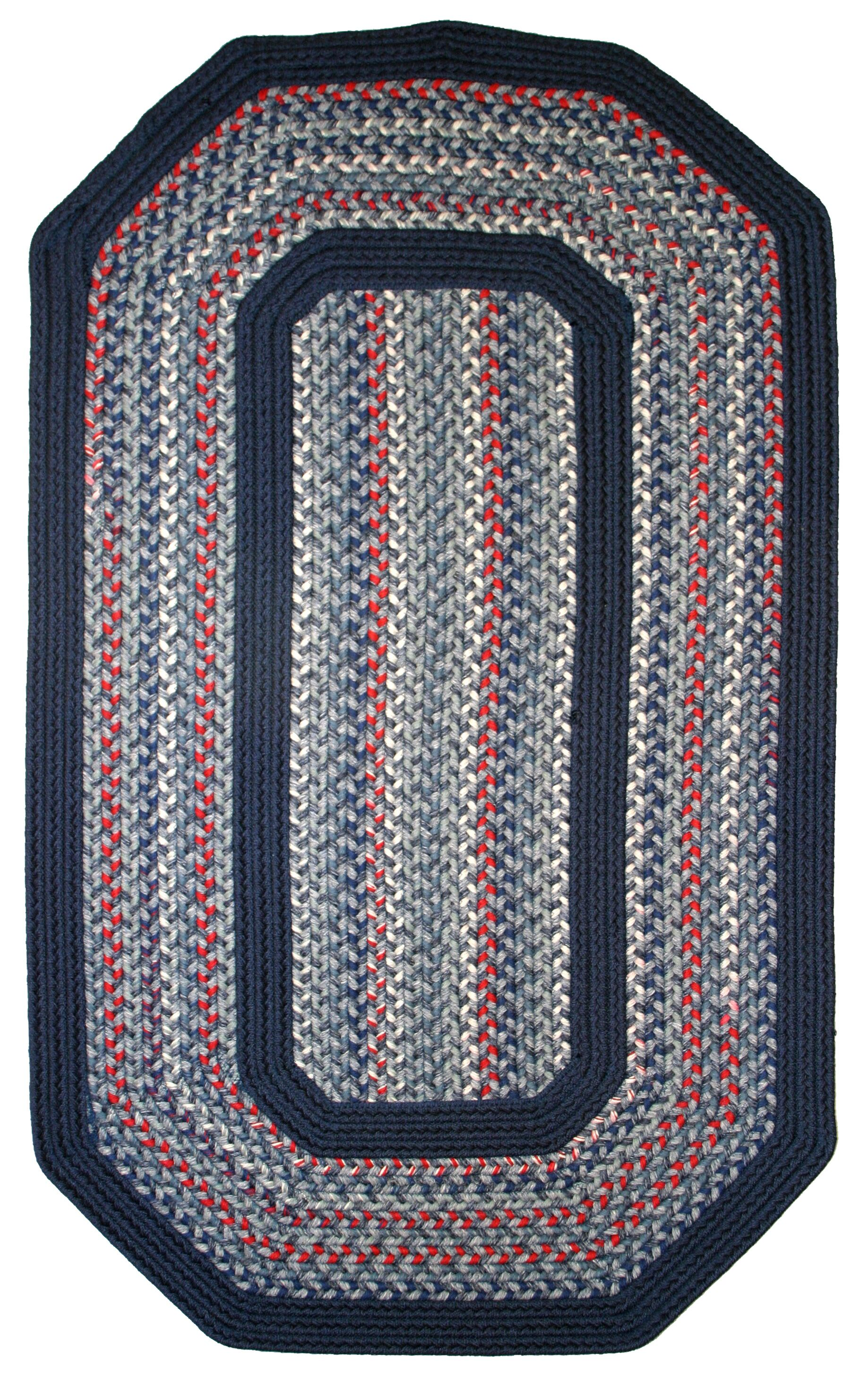Pioneer Valley II Olympic Blue with Dark Blue Solids Multi Elongated Octagon Rug Rug Size: Elongated Octagon 9' x 12'
