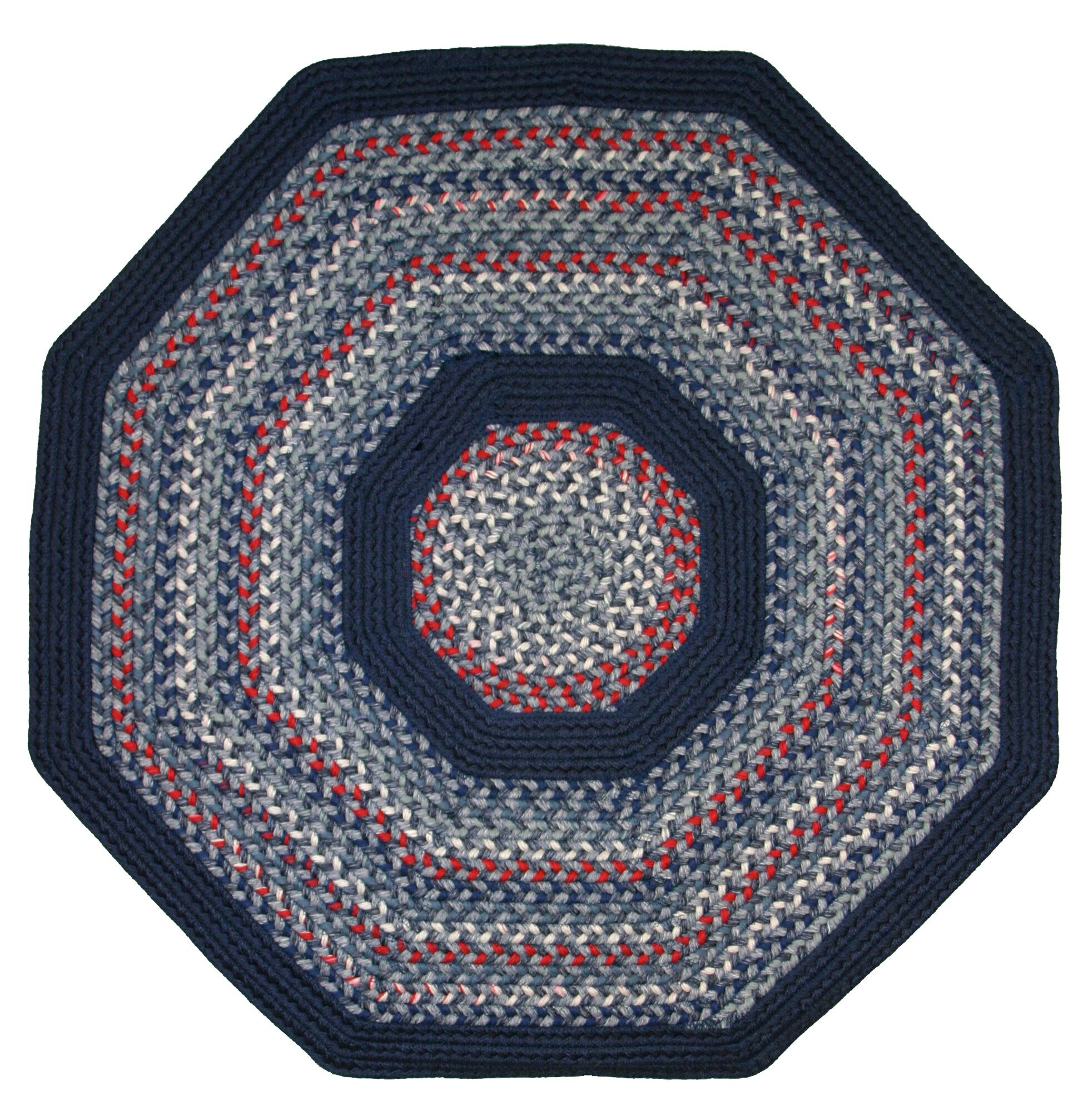 Pioneer Valley II Olympic Blue with Dark Blue Solids Multi Octagon Rug Rug Size: Octagon 8'