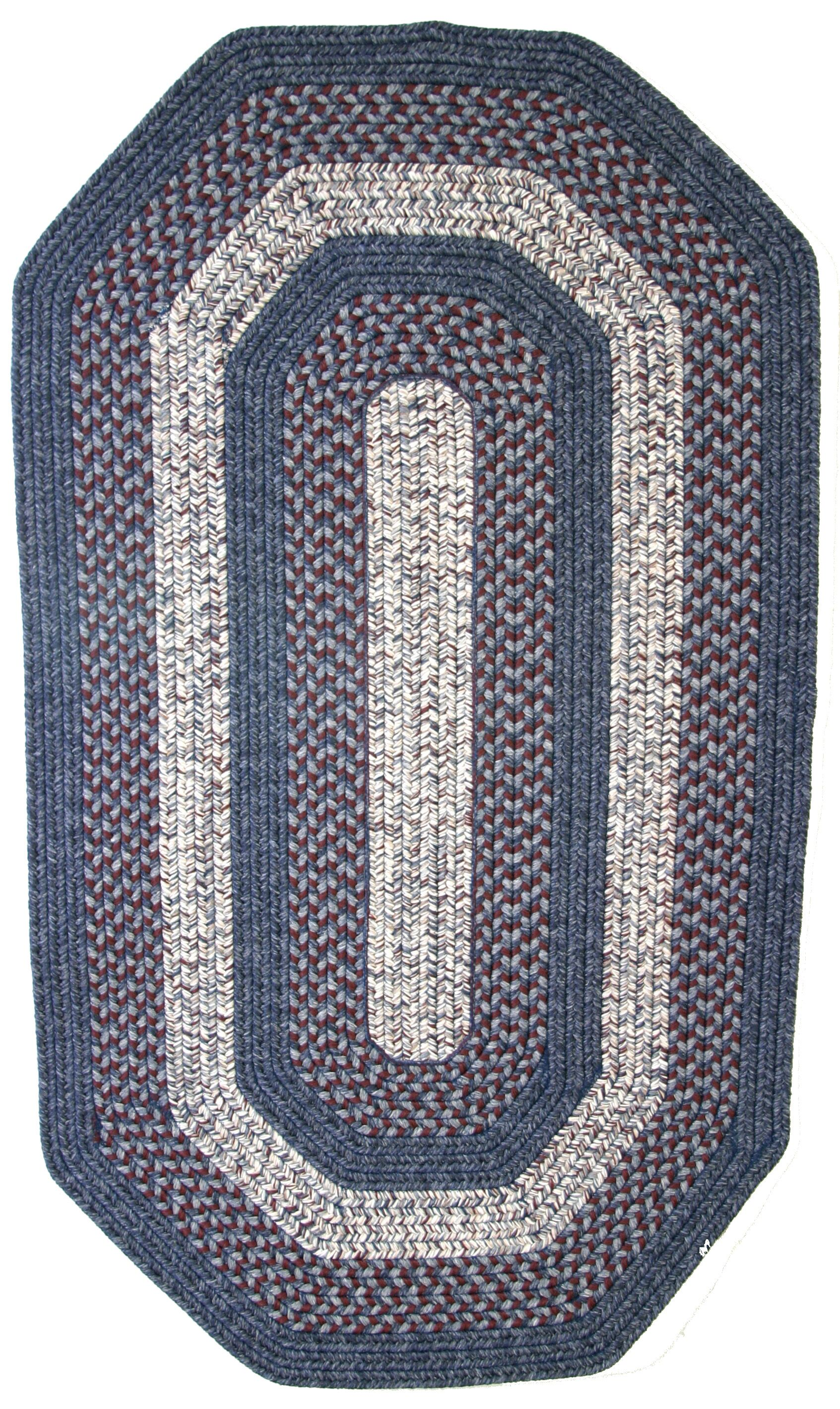 Town Crier Blue with Red Indoor/Outdoor Rug Rug Size: Elongated Octagon 6' x 9'