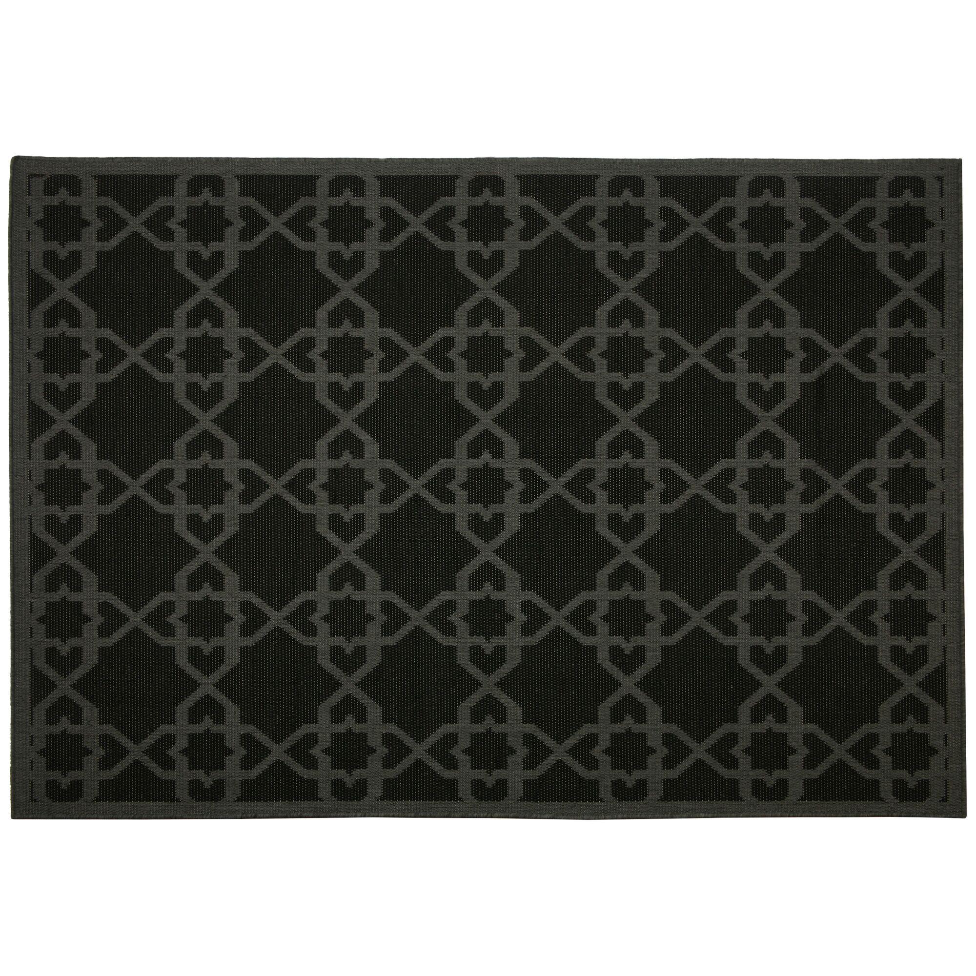 Eduardo Black Geometric Indoor/Outdoor Area Rug Rug Size: Rectangle 2' x 3'