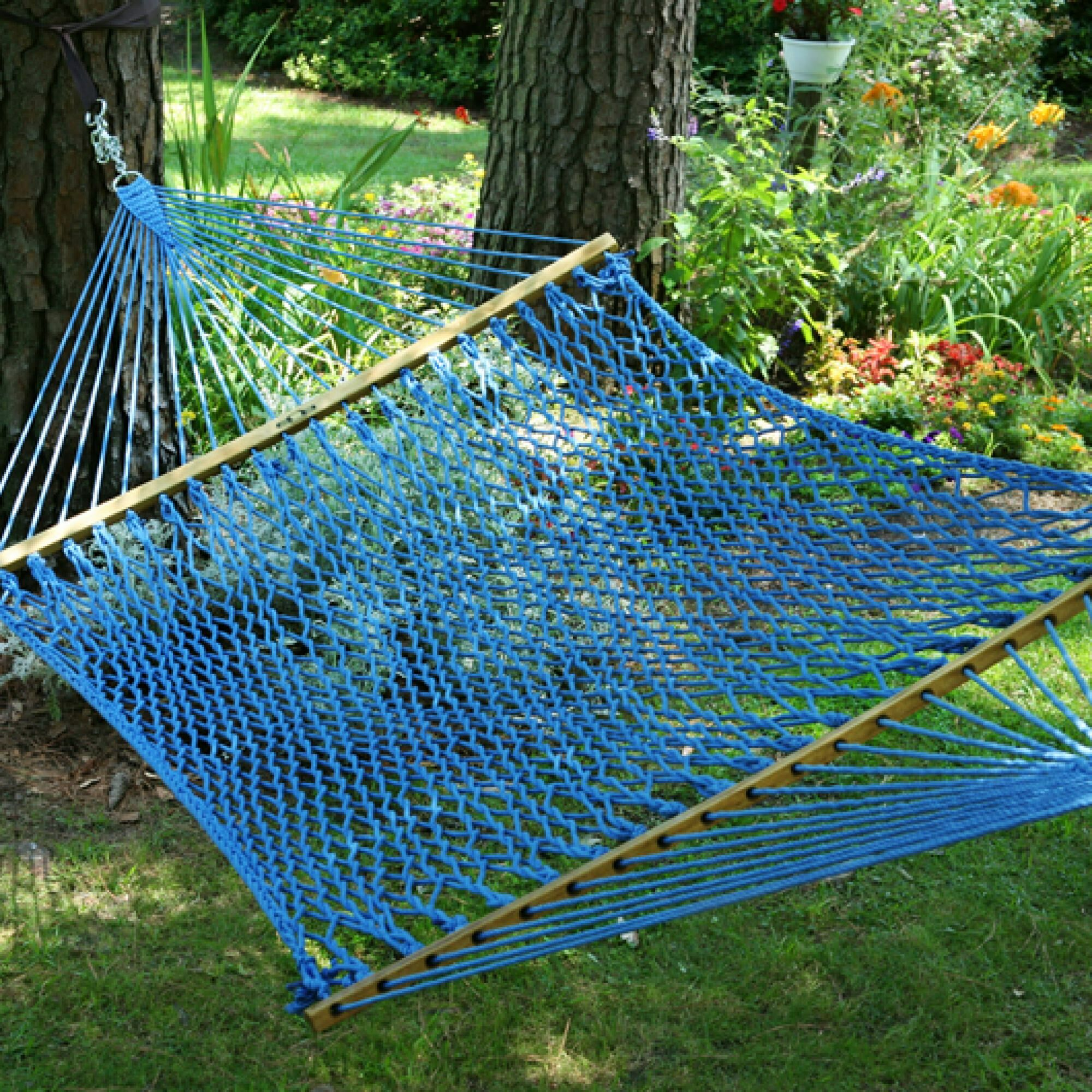 Edmonds Large Original DuraCord Rope Tree Hammock Color: Coastal Blue, Size: 180