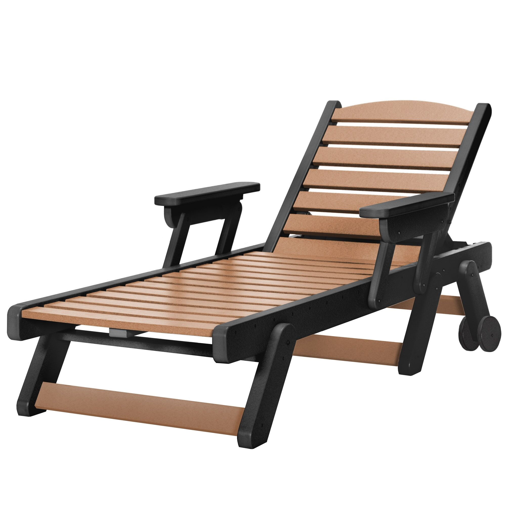 Herrman Wheeled Chaise Lounge Color: Black/Cedar