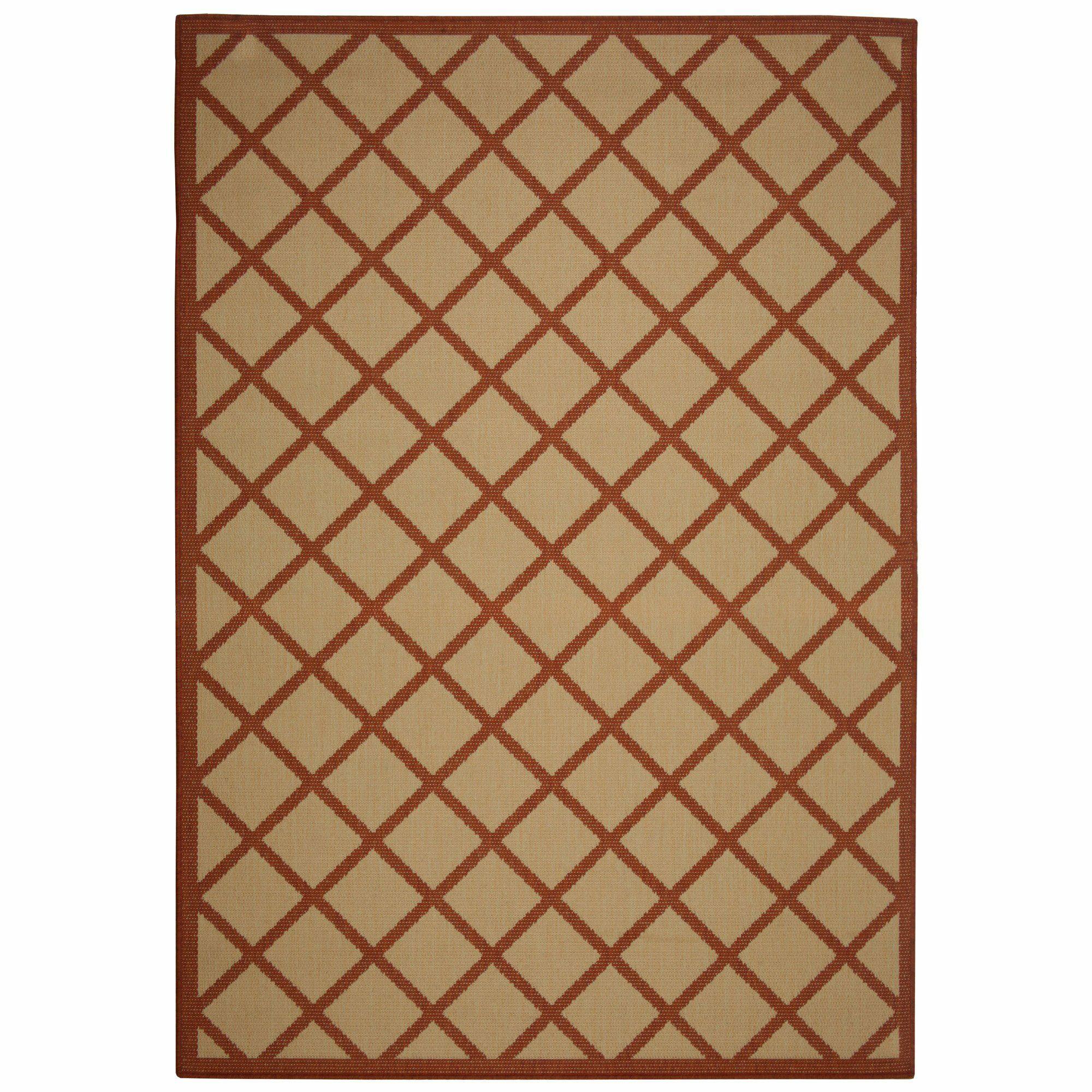 Eells Red Geometric Indoor/Outdoor Area Rug Rug Size: Rectangle 7' x 10'