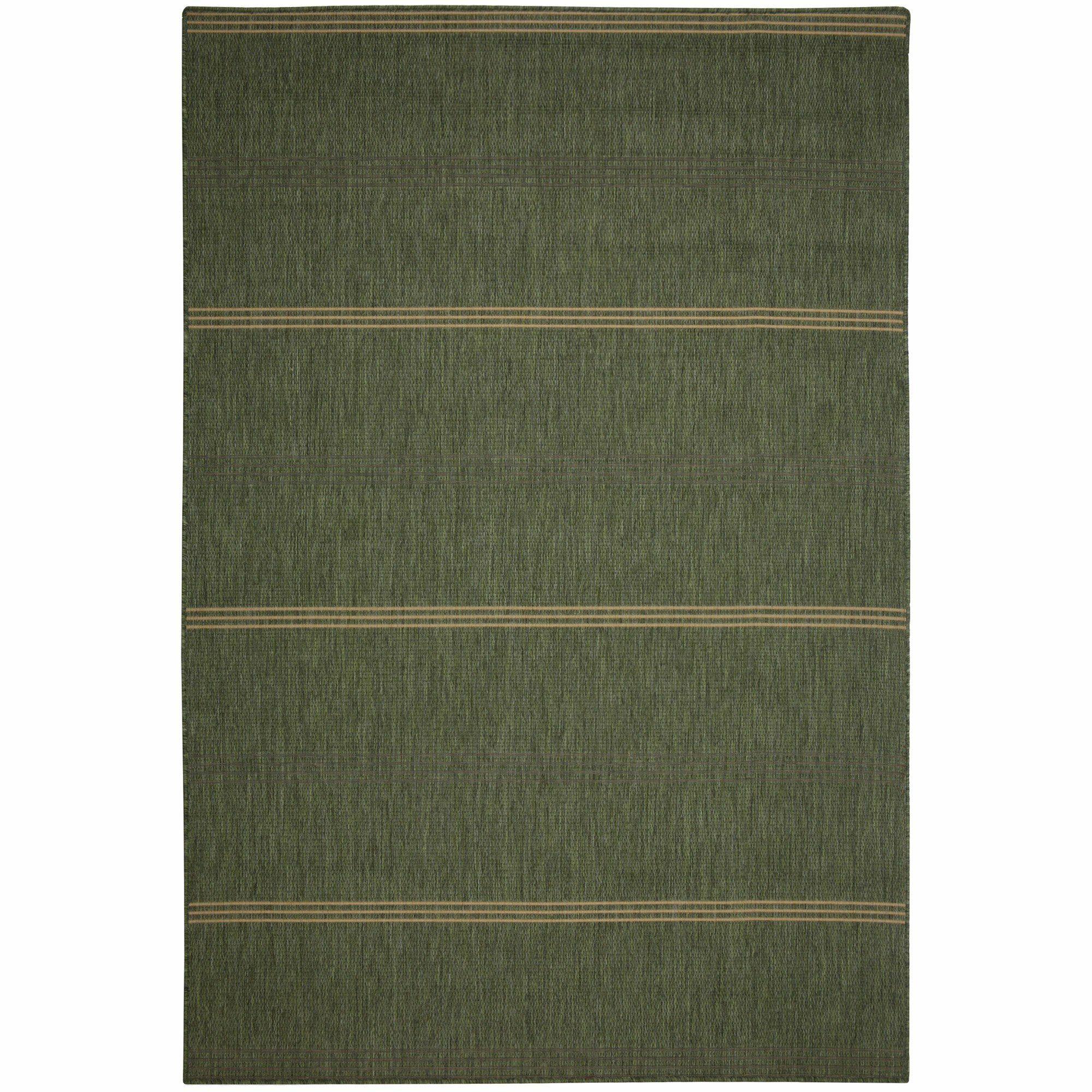 Efird Green Stripe Indoor/Outdoor Area Rug Rug Size: Rectangle 2' x 3'