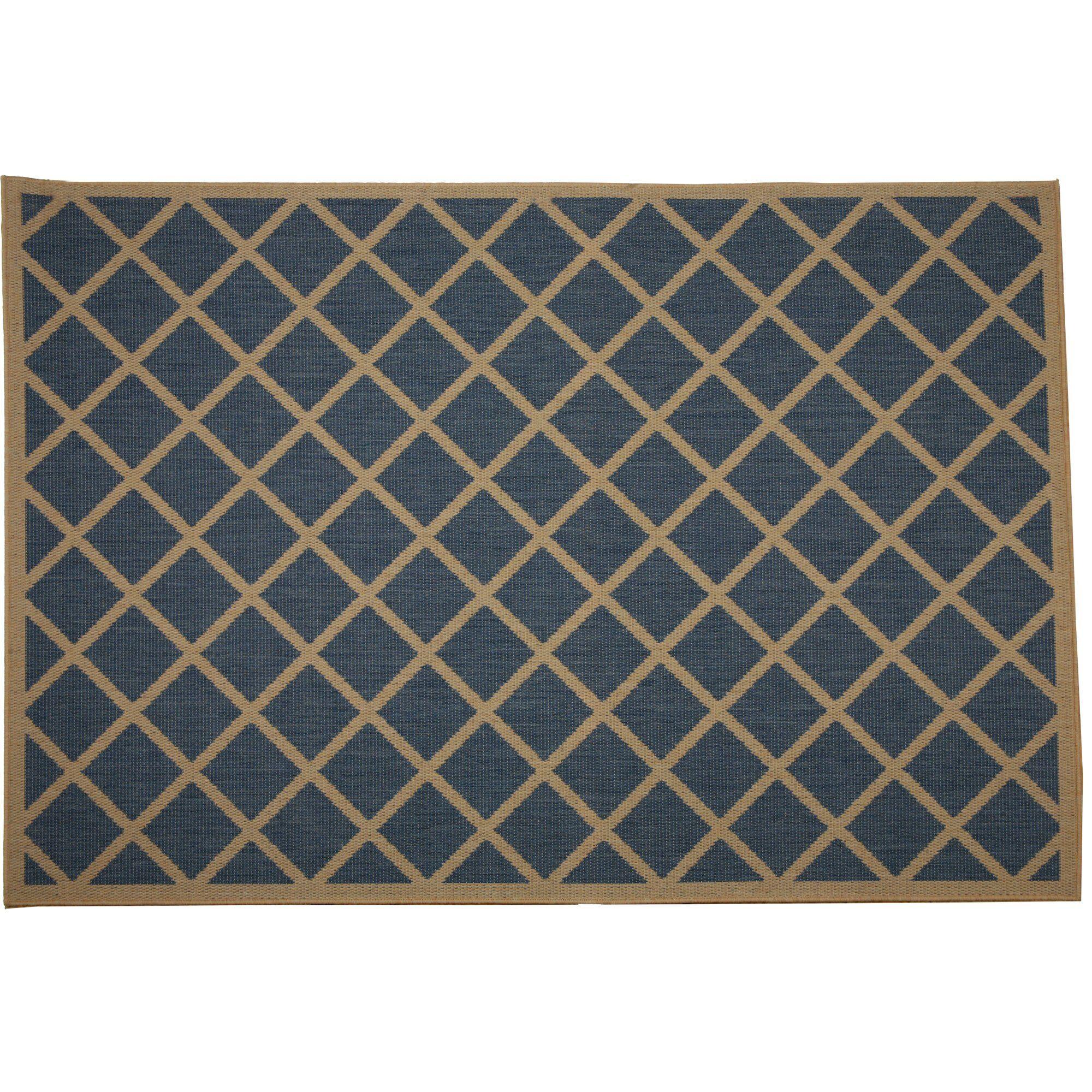 Eells Blue Geometric Indoor/Outdoor Area Rug Rug Size: Rectangle 5' x 7'