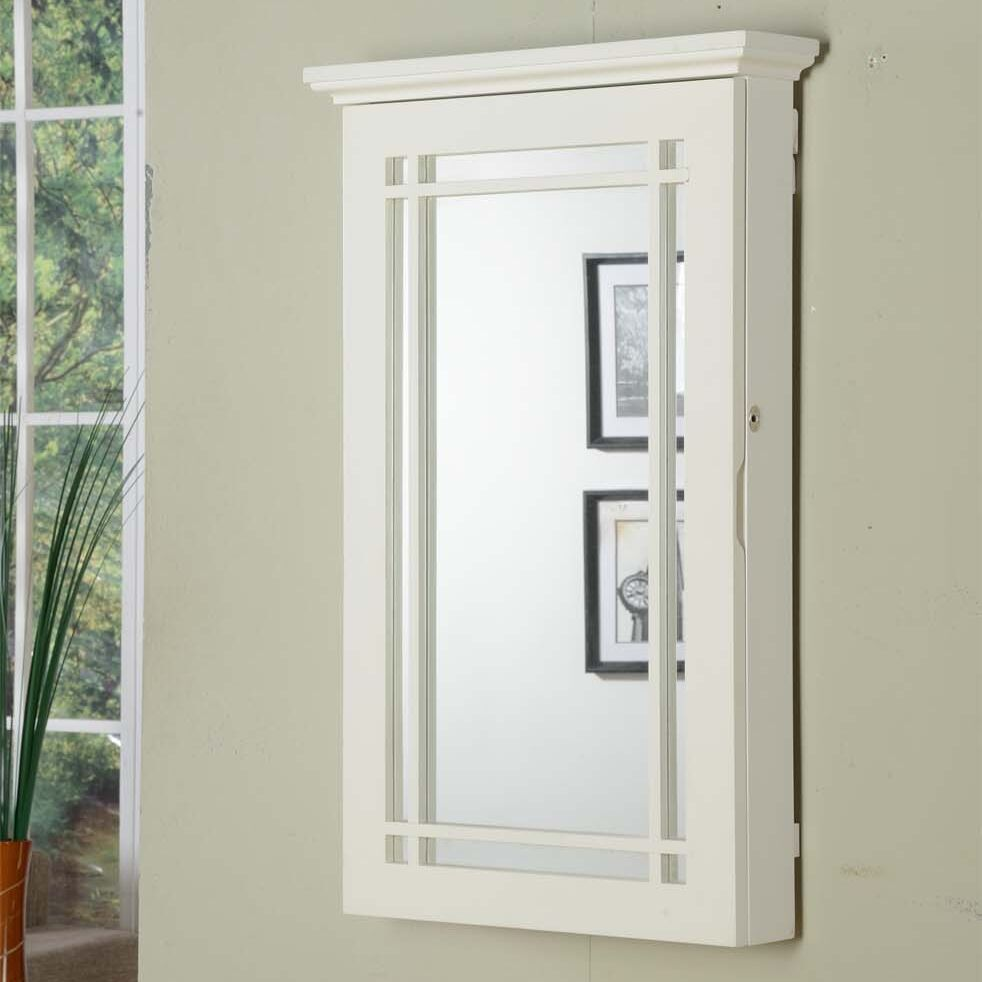 Border Wall Mounted Jewelry Armoire Color: White