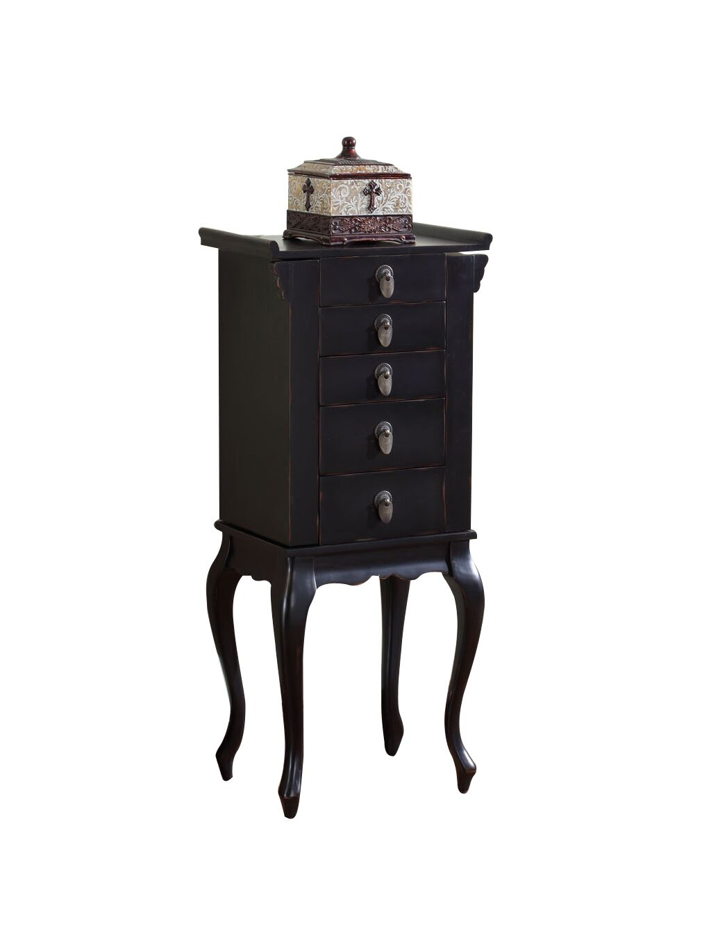 Nang Jewelry Armoire with Mirror Color: Black