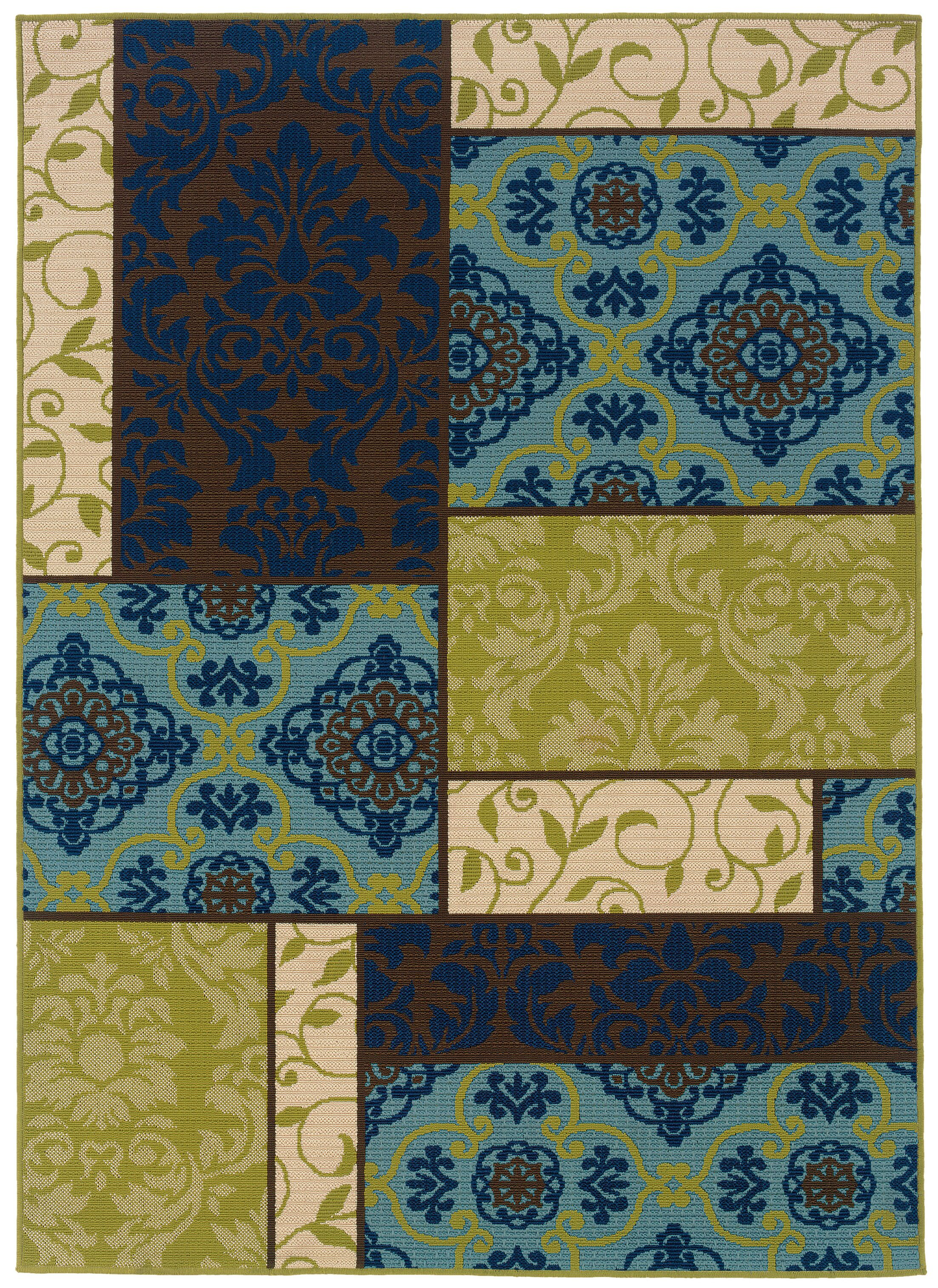 Newfield Brown/Blue Indoor/Outdoor Area Rug Rug Size: Rectangle 6'7