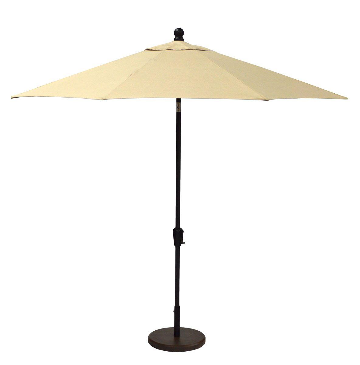 Sunbrella 11' Market Umbrella Fabric: Spectrum Sand, Frame Finish: Black