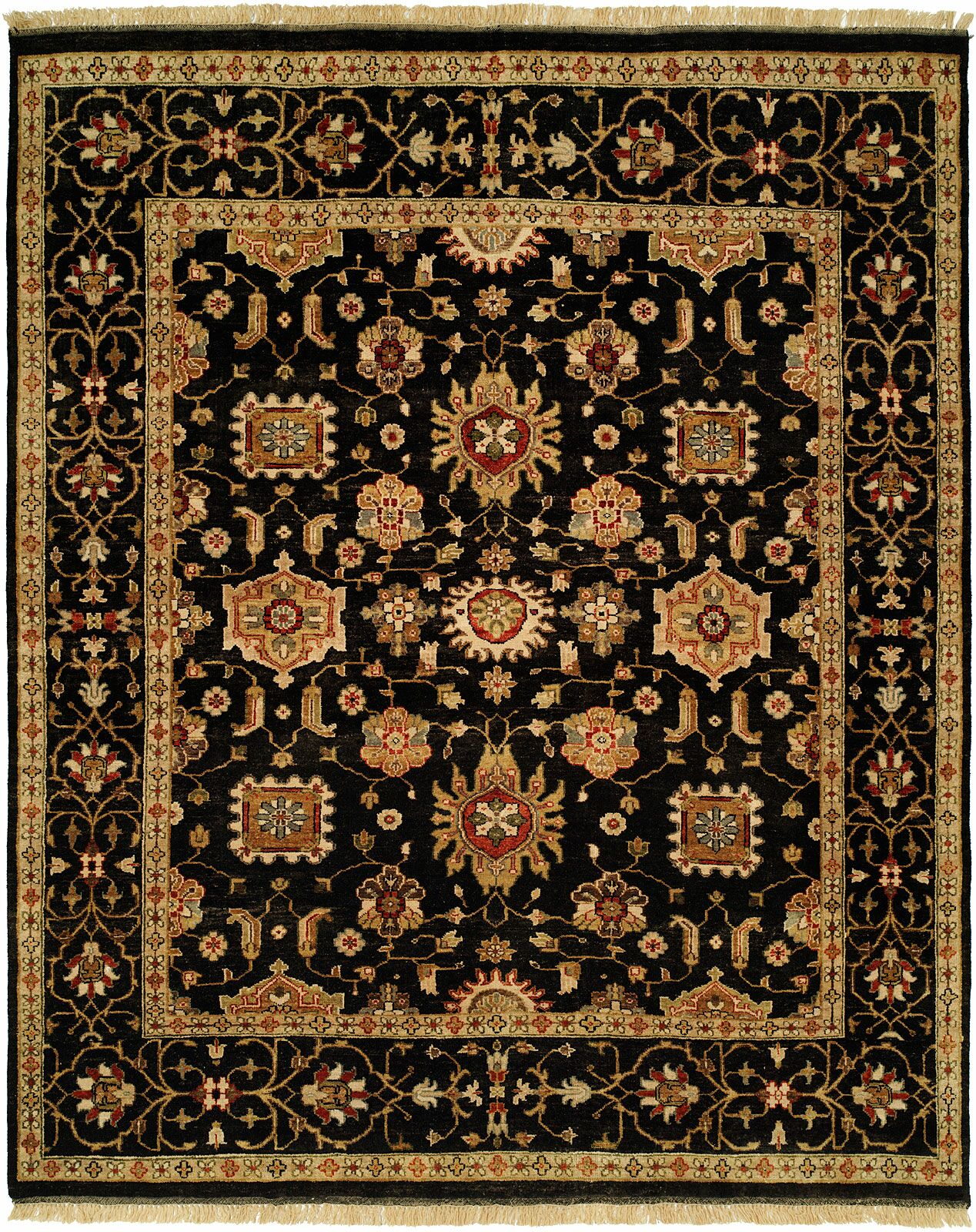 Doha Hand-Knotted Black/Orange Area Rug Rug Size: 9' x 12'