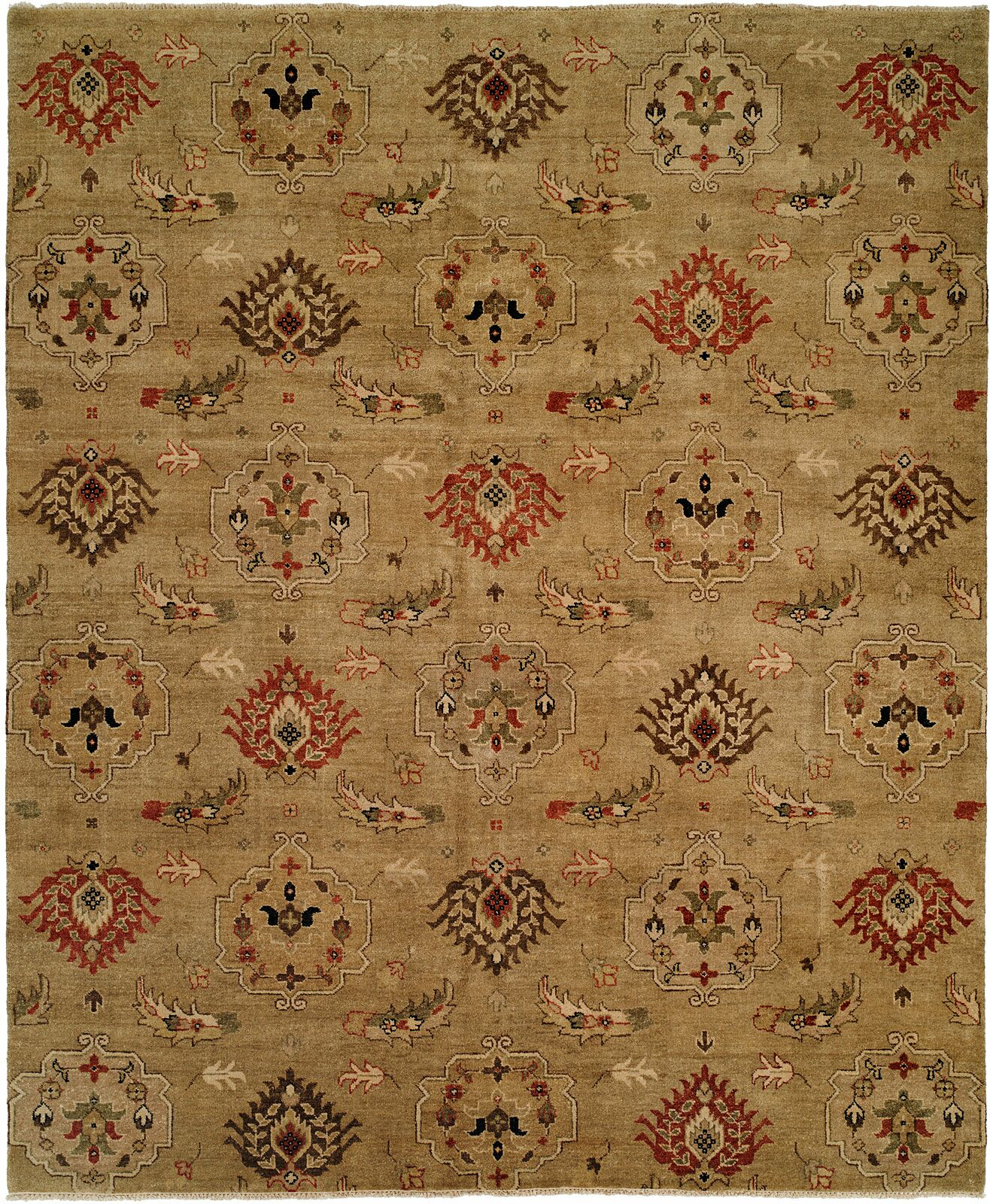 Sharjah Hand-Knotted Gold Area Rug Rug Size: 3' x 5'