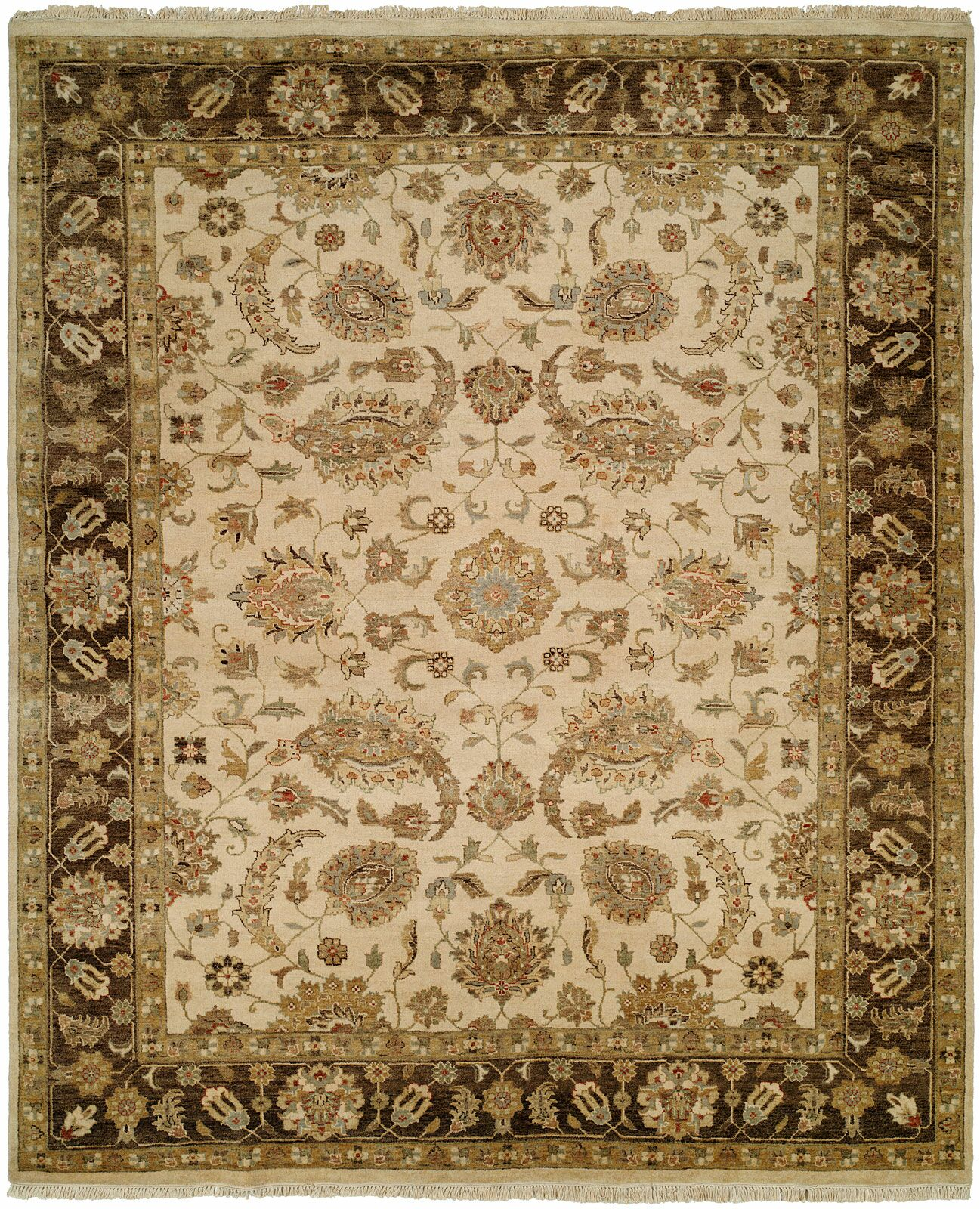 Ali Hand-Knotted Ivory/Brown Area Rug Rug Size: Rectangle 8' x 10'