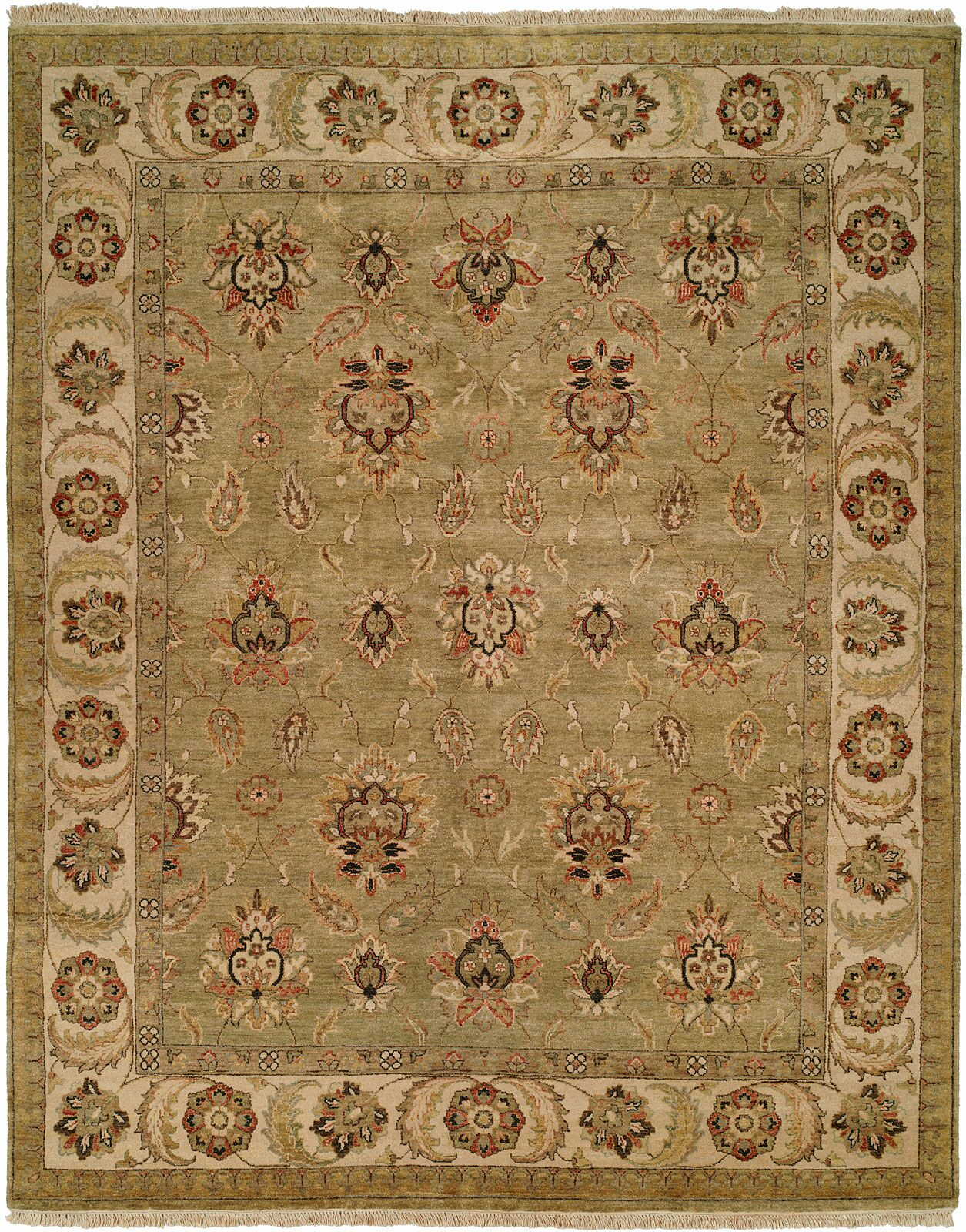 Jubail Hand-Knotted Green/Ivory Area Rug Rug Size: Rectangle 10' x 14'