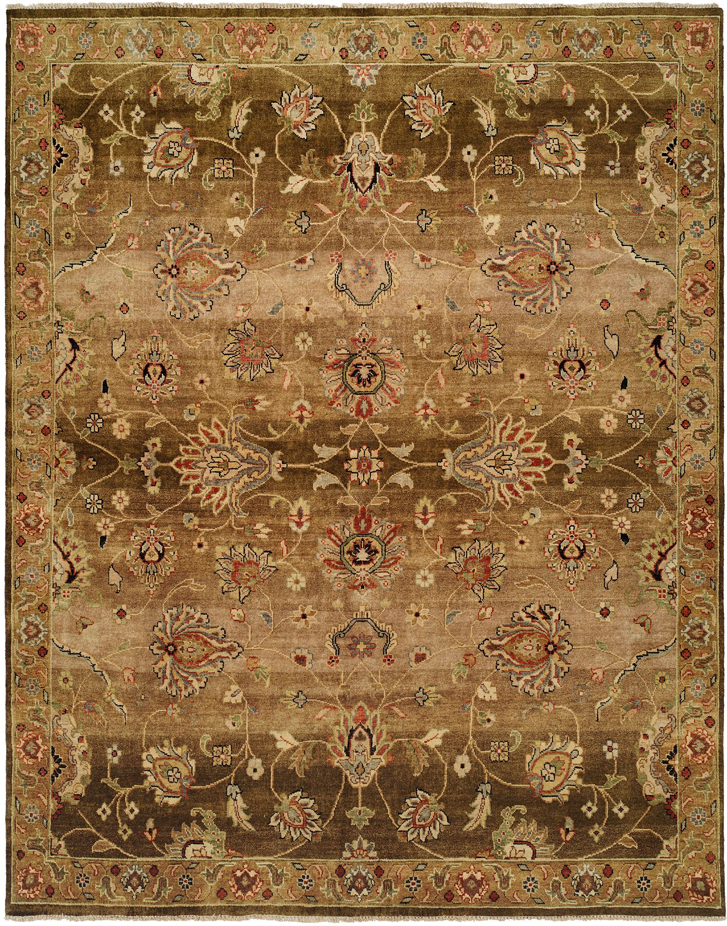 Bahrain Hand-Knotted Brown Area Rug Rug Size: 10' x 14'