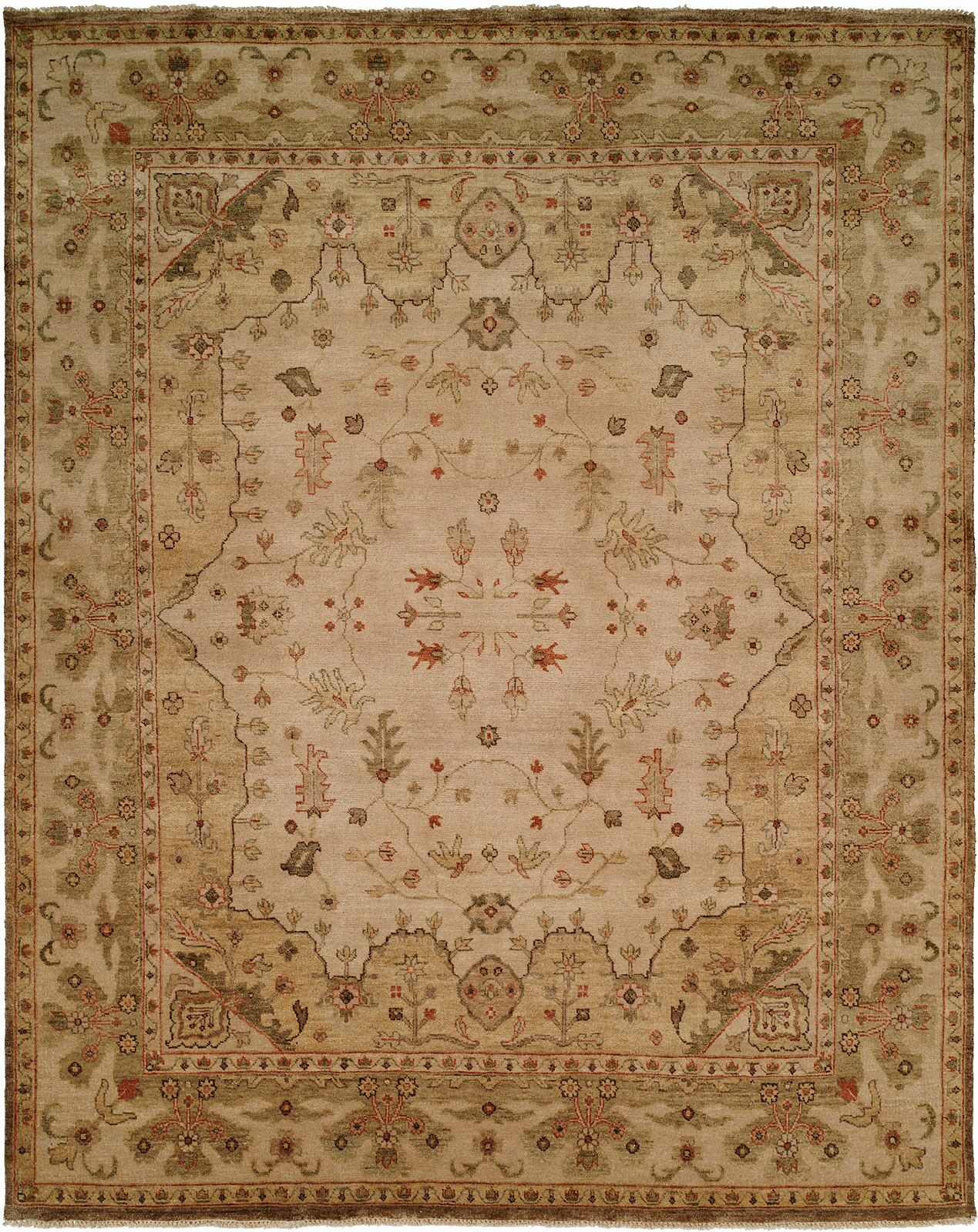 Melbourne Hand-Knotted Beige Area Rug Rug Size: Rectangle 4' x 6'