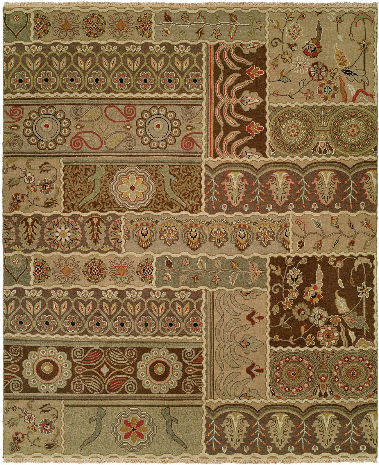 Massawa Hand-Woven Brown/Green Area Rug Rug Size: Rectangle 12' x 15'