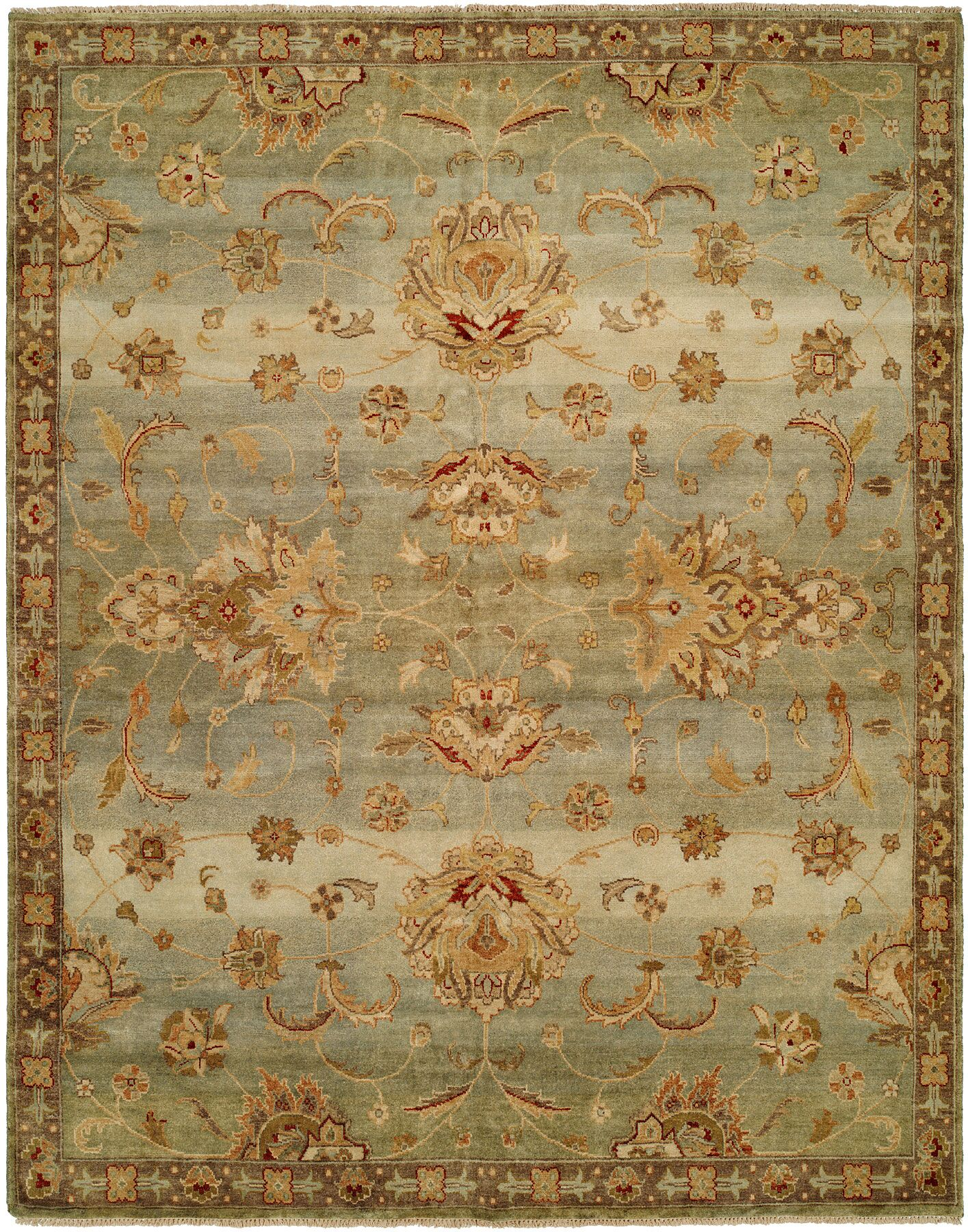 Auckland Hand-Knotted Blue/Gold Area Rug Rug Size: 12' x 15'