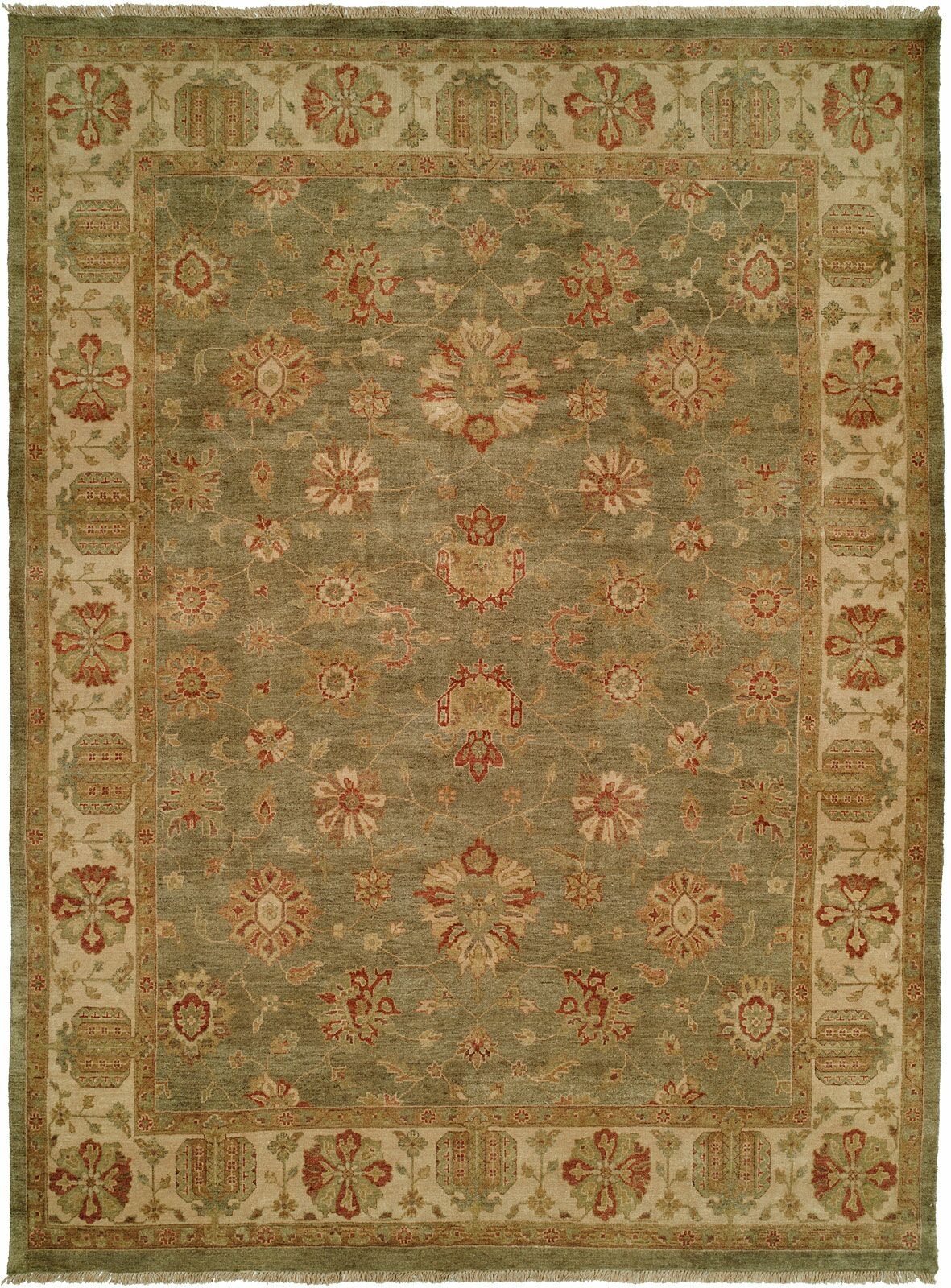 Buenaventura Hand-Knotted Green/Ivory Area Rug Rug Size: Rectangle 6' x 9'