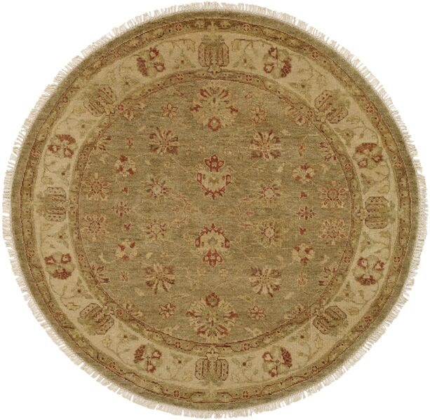 Buenaventura Hand-Knotted Green/Ivory Area Rug Rug Size: Round 10'