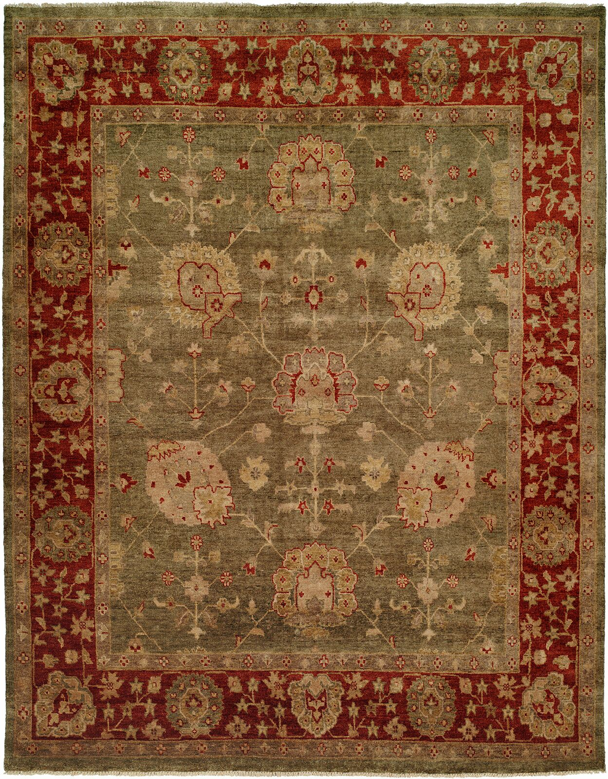 Davao Hand-Knotted Green/Red Area Rug Rug Size: Rectangle 9' x 12'