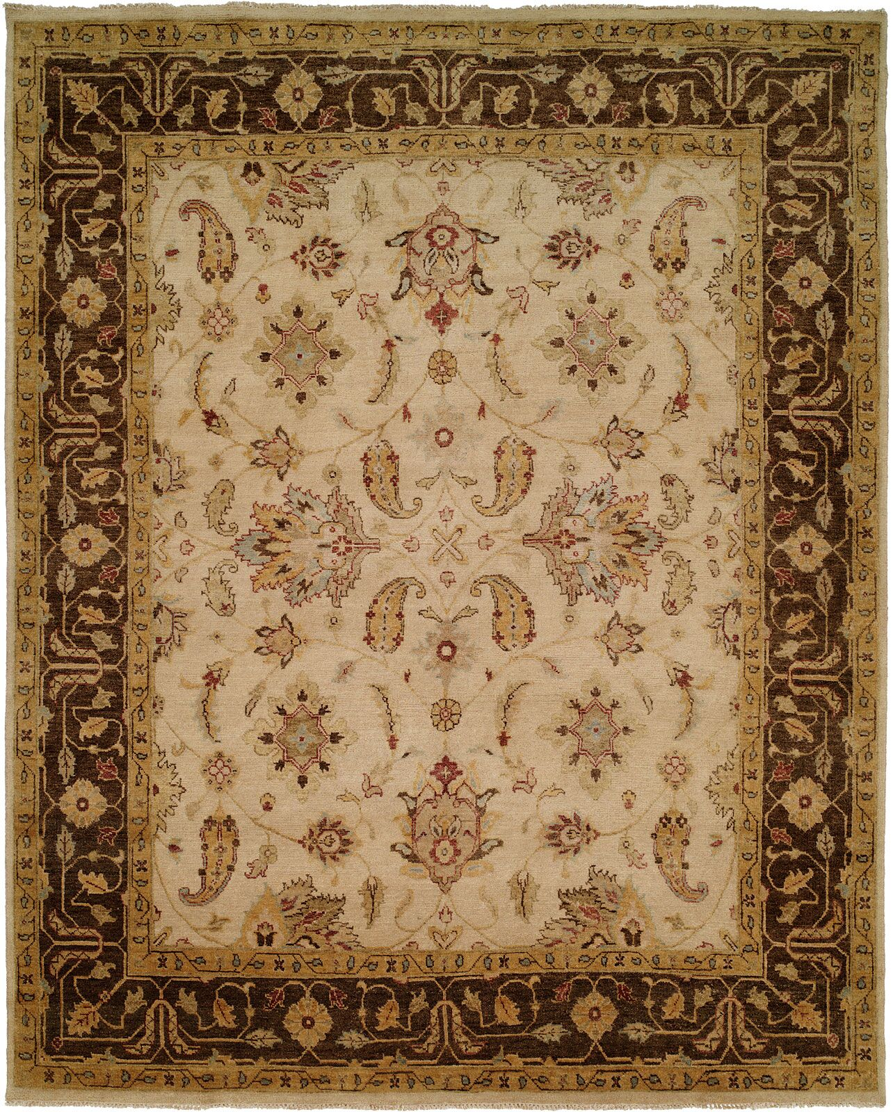Ensenada Hand-Knotted Ivory/Brown Area Rug Rug Size: Rectangle 3' x 5'