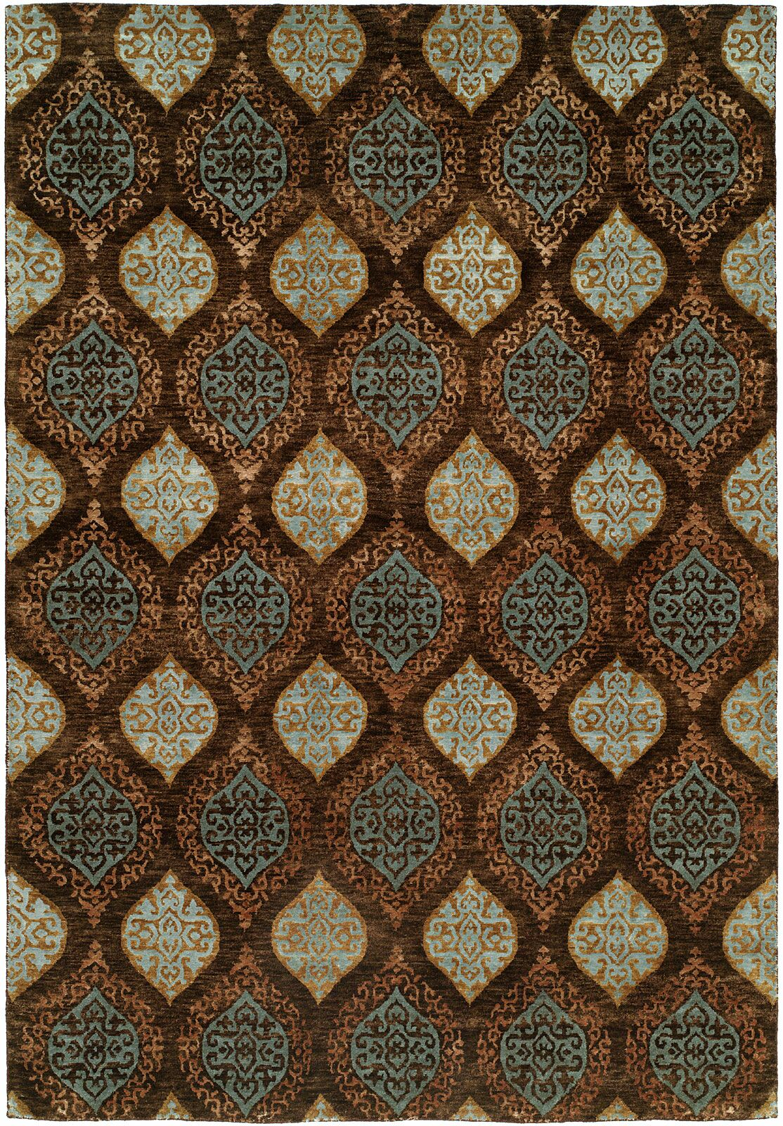 Guayaquil Hand-Knotted Brown/Ivory Area Rug Rug Size: Rectangle 10' x 14'
