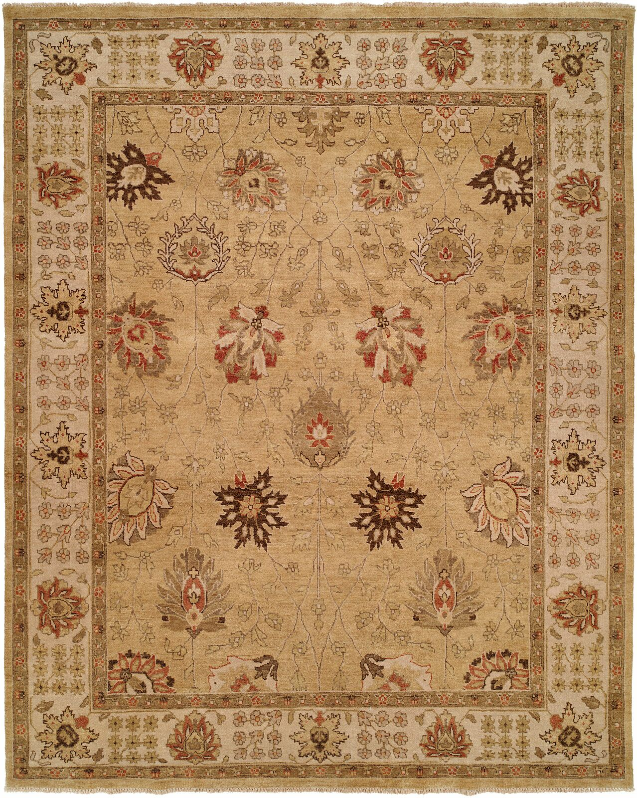 Kobe Hand-Knotted Gold Area Rug Rug Size: Round 6'
