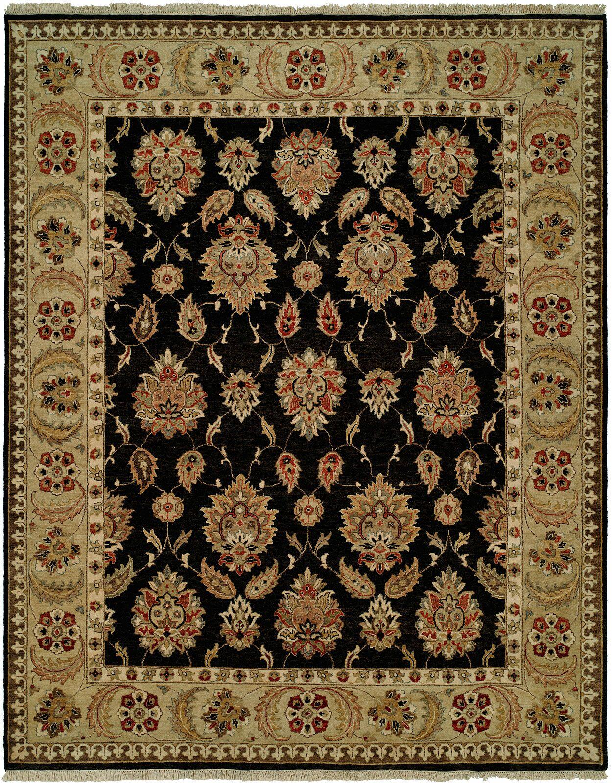 Legazpi Hand-Knotted Black/Gold Area Rug Rug Size: Rectangle 6' x 9'