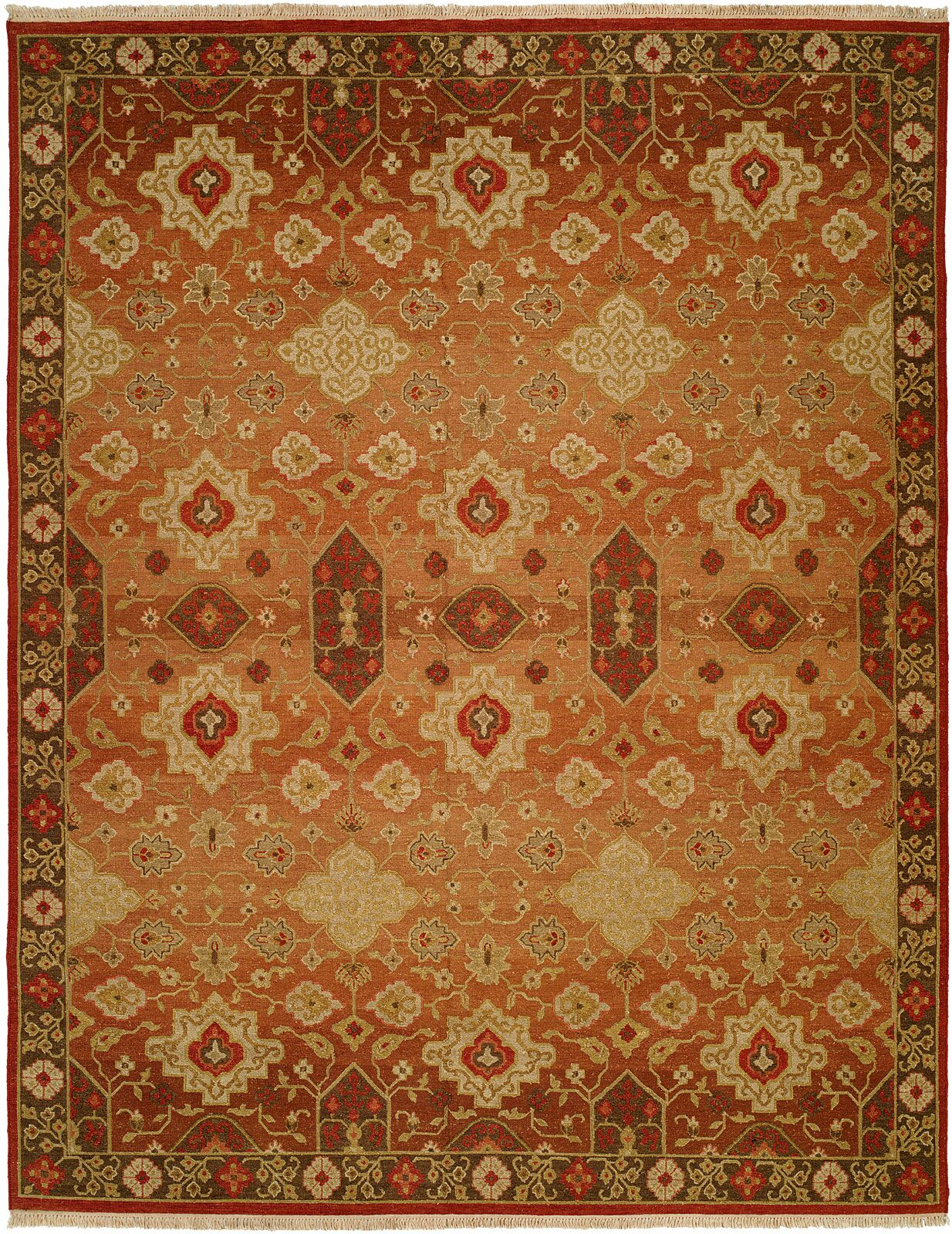 San Diego Hand-Woven Rust/Ivory Area Rug Rug Size: Rectangle 4' x 6'