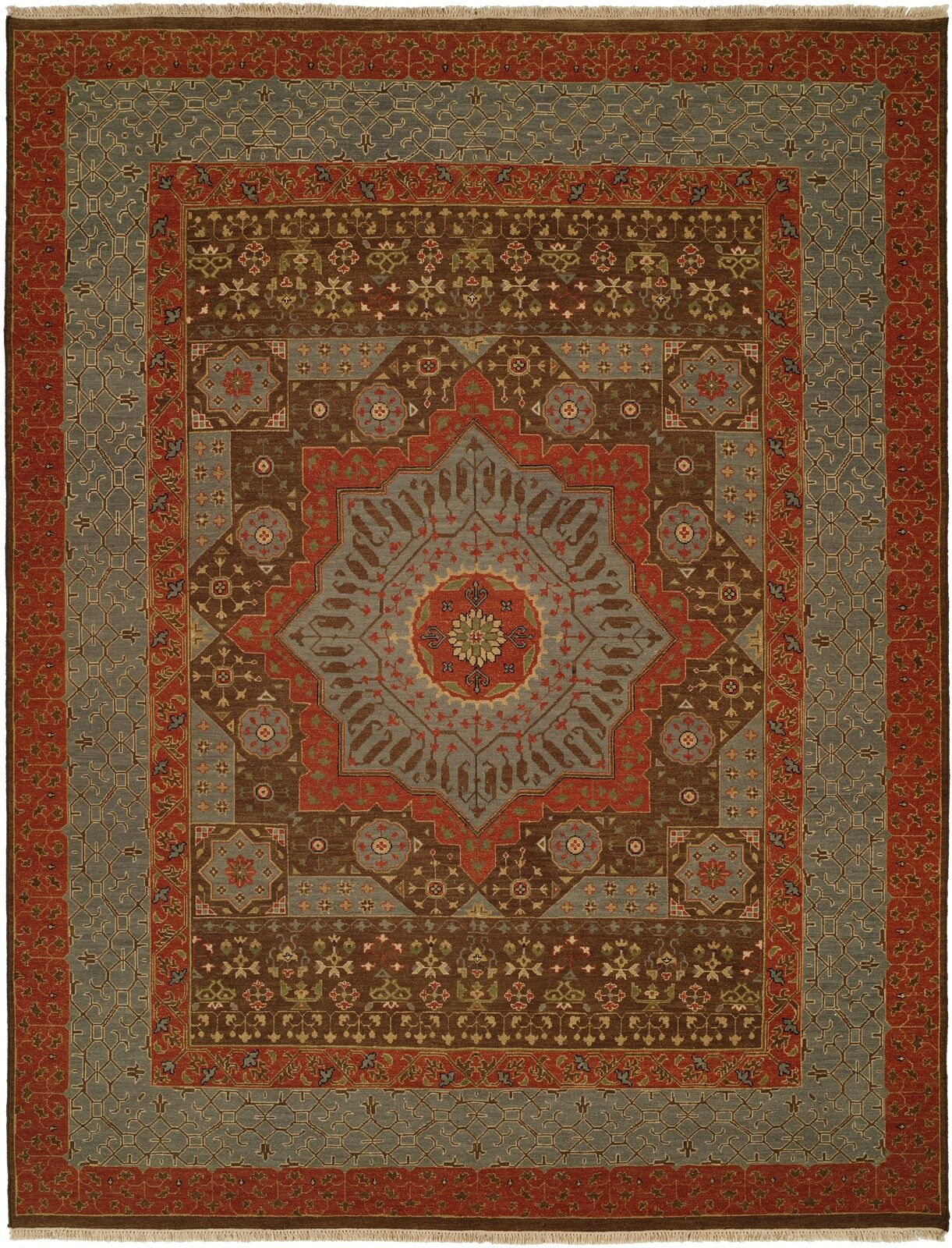 Wellington Handmade Red/Gray Area Rug Rug Size: Round 6'