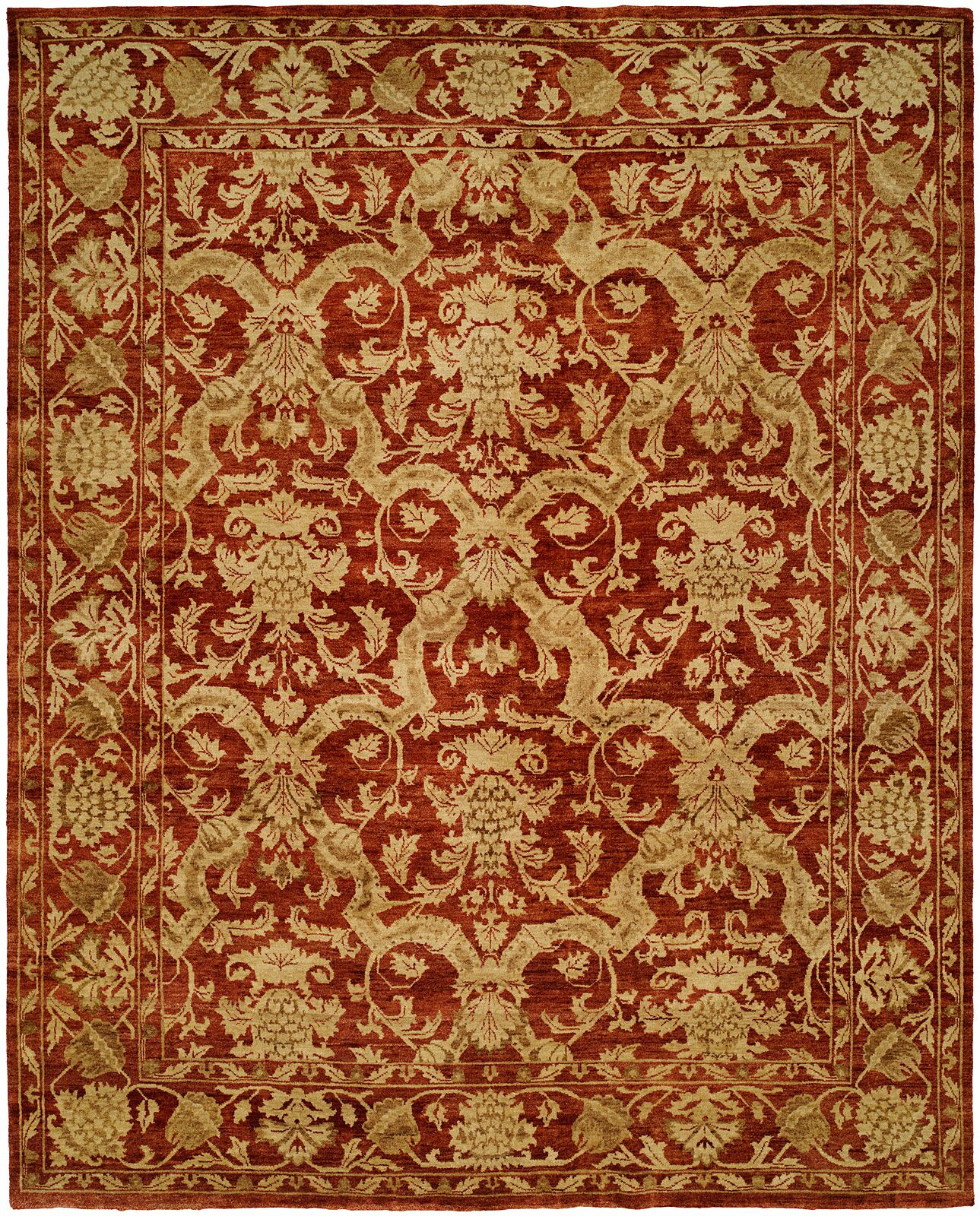 Hand-Knotted Red/Gold Area Rug Rug Size: 2' x 3'