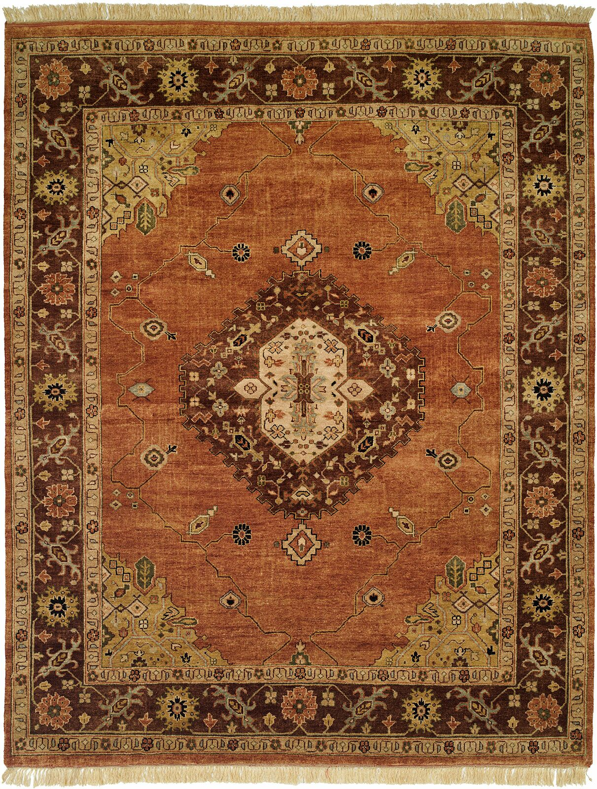 Hay Hand-Knotted Brown/Orange Area Rug Rug Size: Runner 2'6