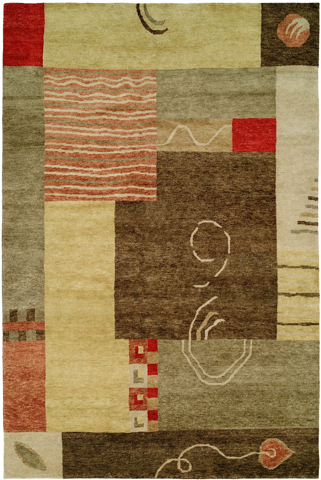 Lushunkou Hand-Knotted Ivory/Brown Area Rug Rug Size: 10' x 14'