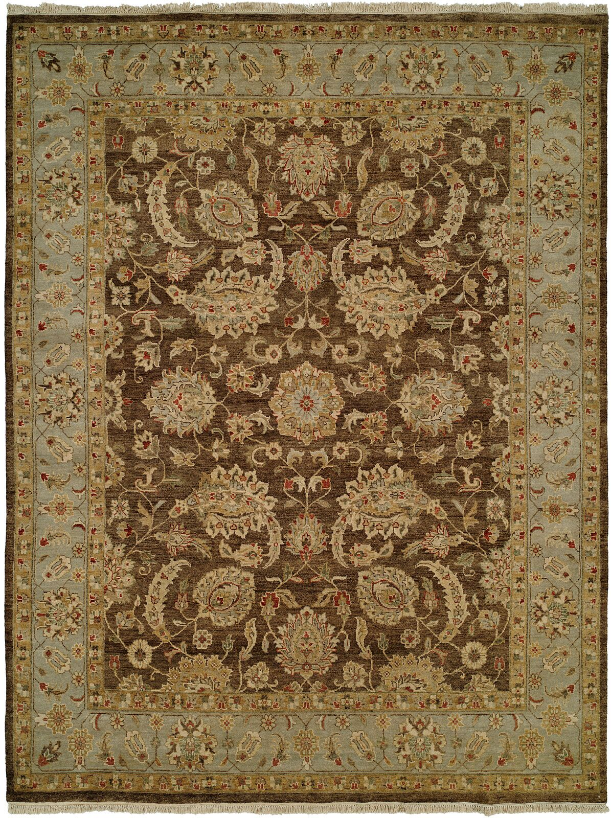 Shanghai Hand-Knotted Brown/Blue Area Rug Rug Size: Rectangle 5' x 7'