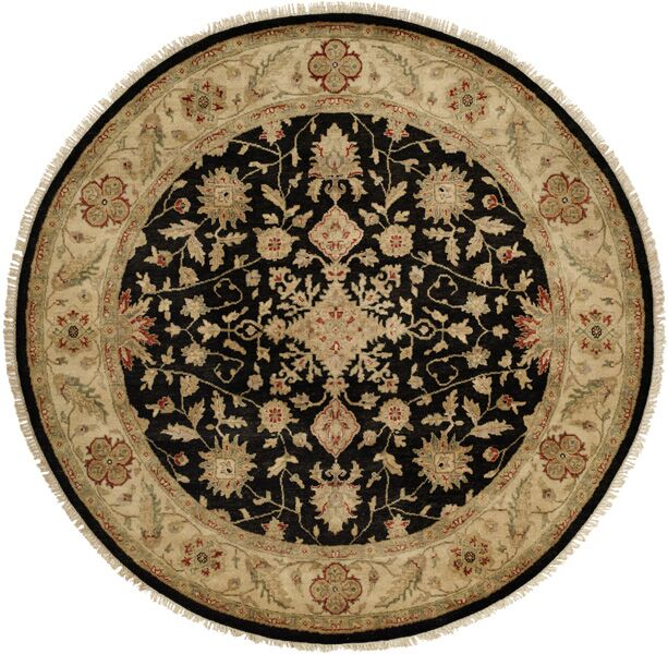 Wuhan Hand-Knotted Black/Ivory Area Rug Rug Size: Runner 2'6