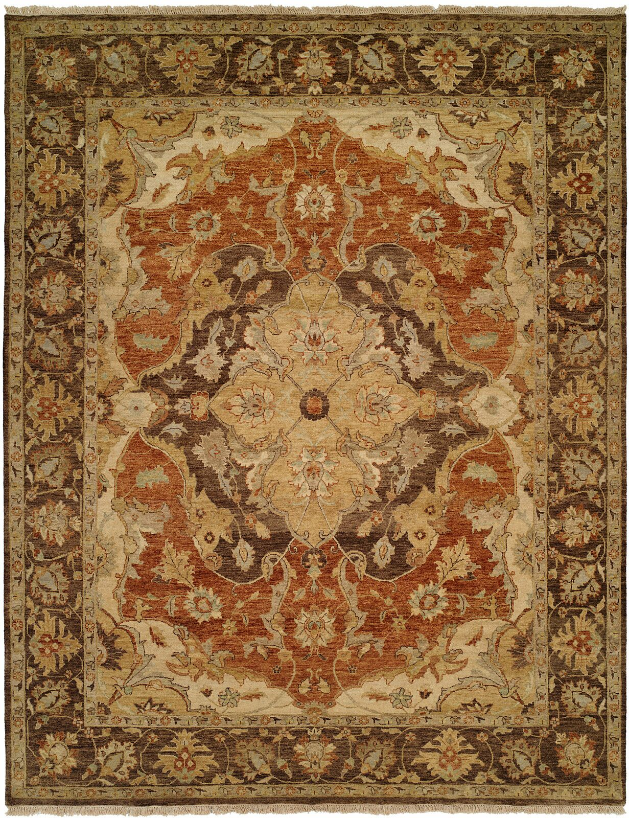 Busan Hand-Knotted Brown/Ivory Area Rug Rug Size: Rectangle 9' x 12'