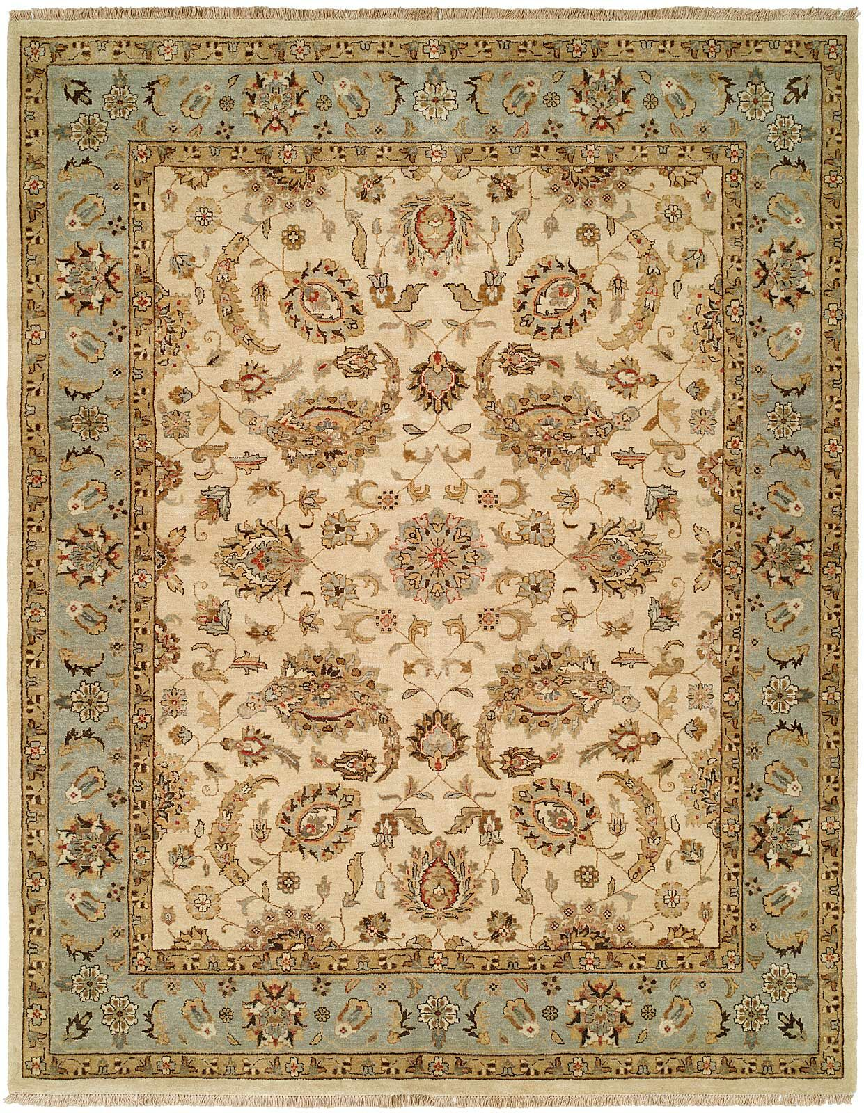 Rason Hand-Knotted Ivory/Light Blue Area Rug Rug Size: Rectangle 8' x 10'