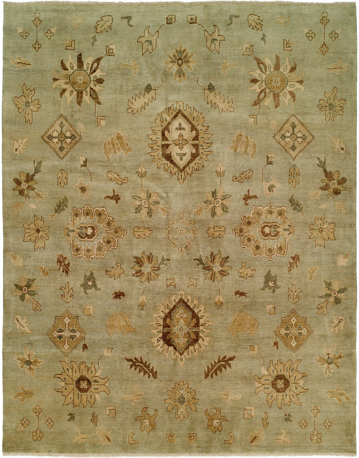 Seattle Hand-Knotted Green Area Rug Rug Size: Rectangle 2' x 3'