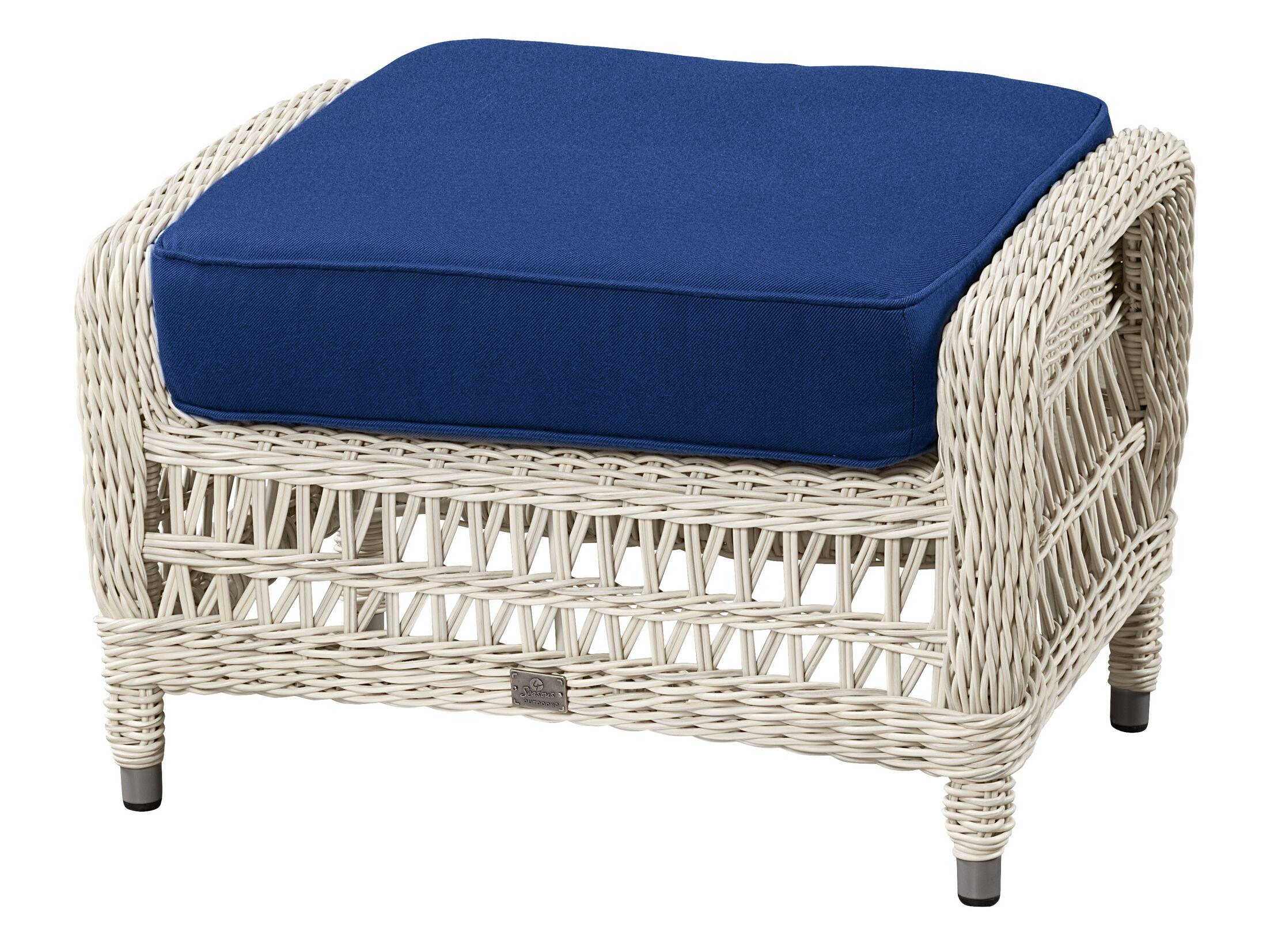 Ottoman with Cushion Fabric: Canvas Air Blue