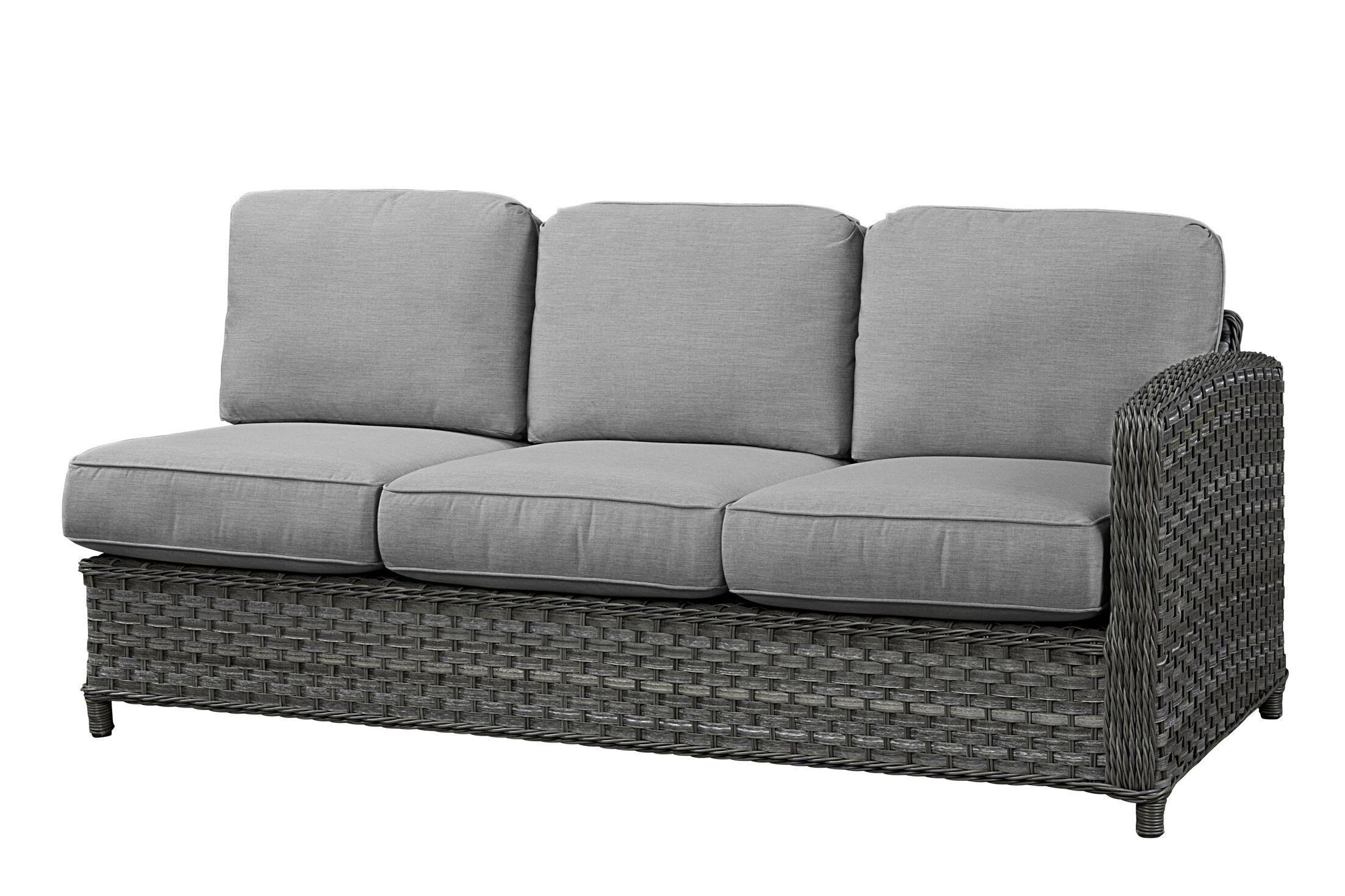 Sofa with Cushion Frame Finish: Grey, Fabric: Canvas Air Blue
