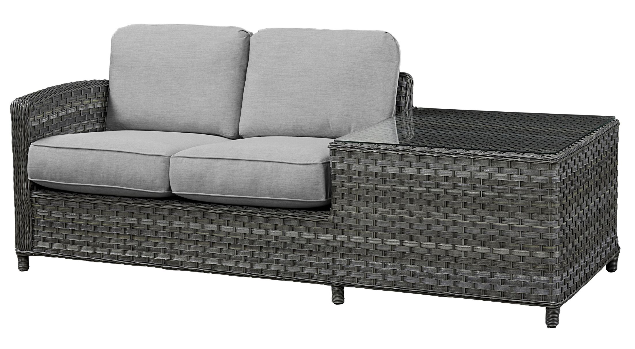Loveseat with Cushion Frame Finish: Grey, Fabric: Canvas Navy